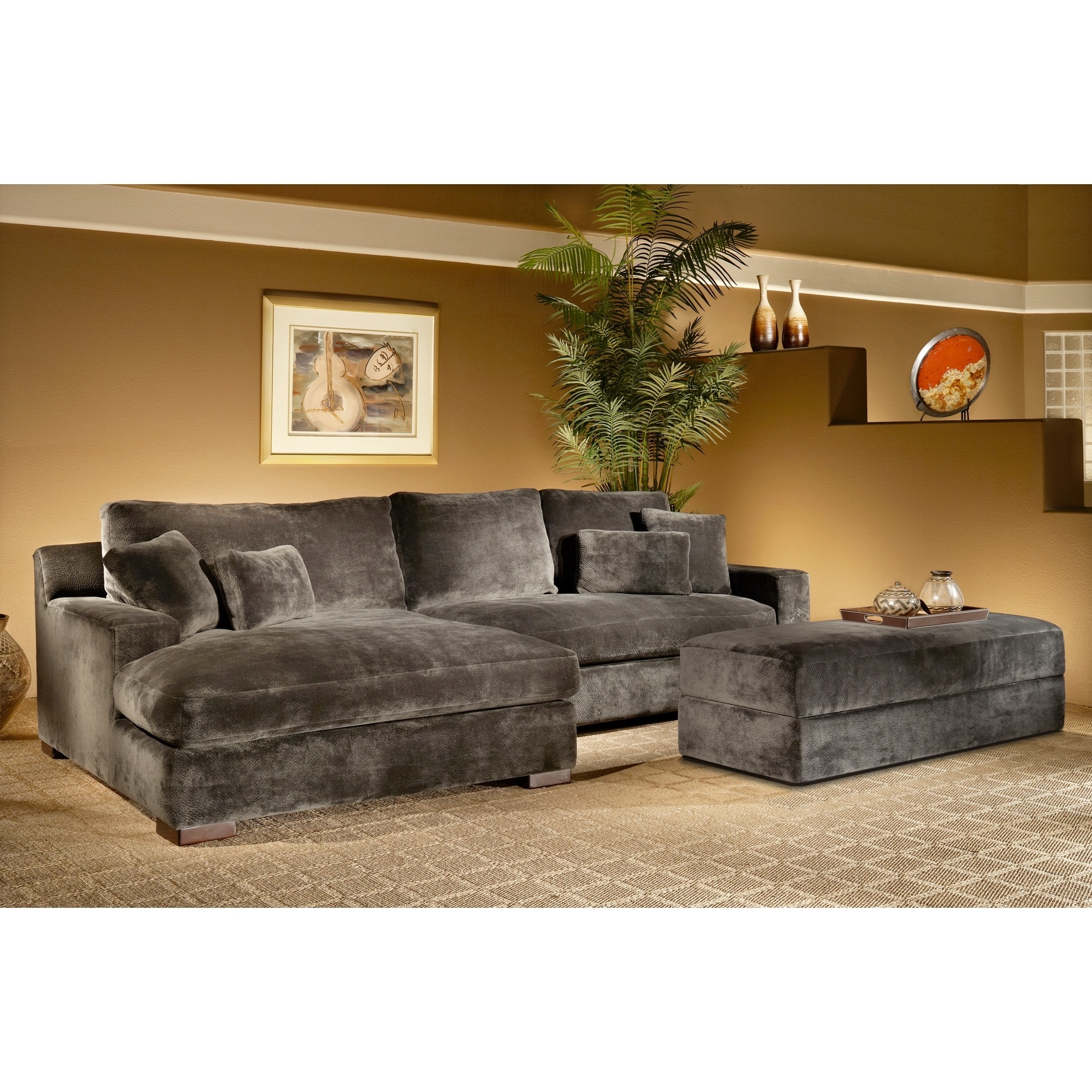 Most Recent Overstuffed Sofas And Chairs Pertaining To The Doris 3 Piece Smoke Sectional Sofa With Storage Ottoman Is (View 4 of 15)