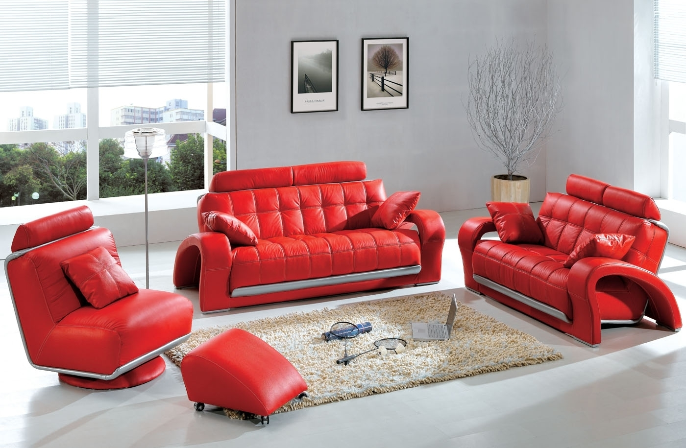 Most Recent Red Leather Couches For Living Room Within Modern & Contemporary Leather Sofa & Sectional Sets (View 3 of 15)