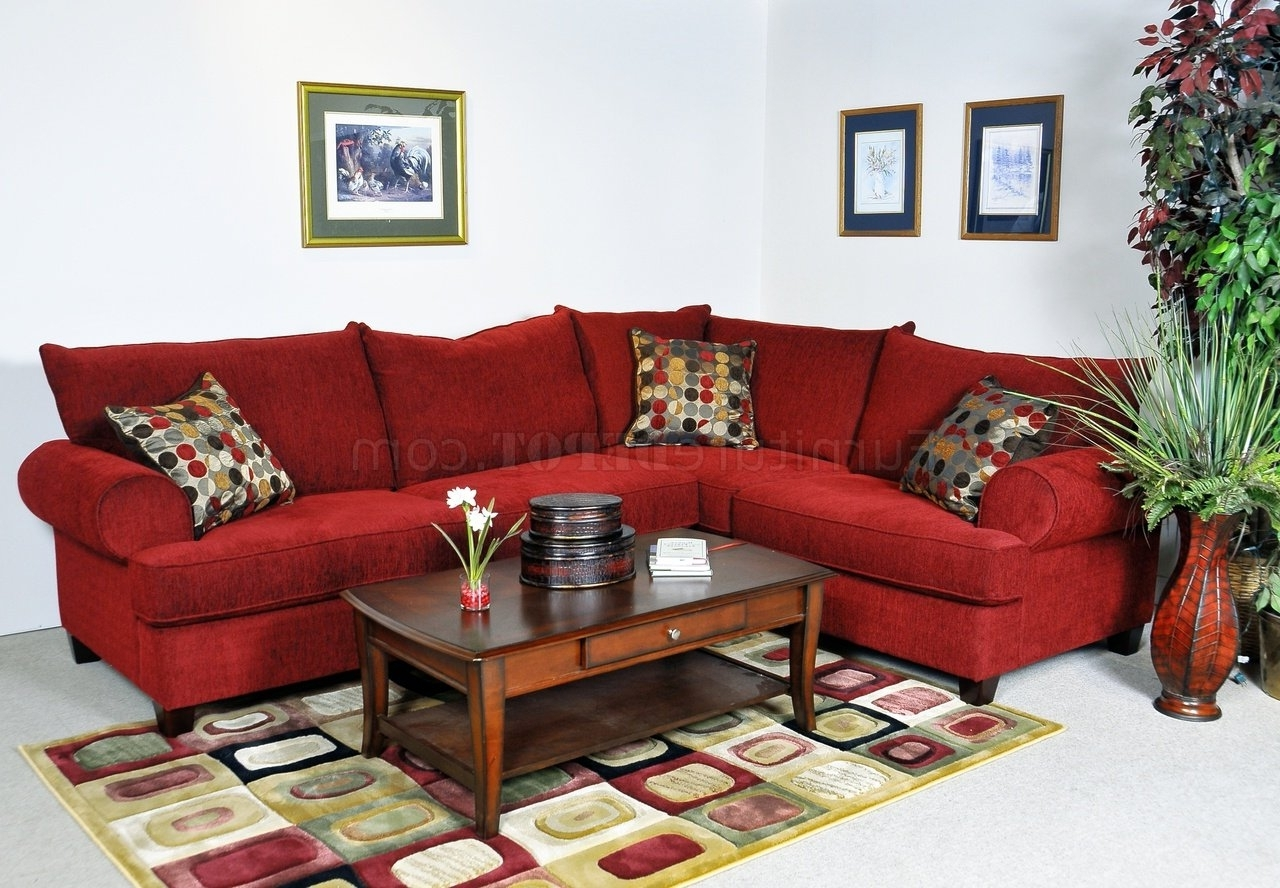 Most Recent Red Sectional Sofas Throughout Red Fabric Contemporary Sectional Sofa W/rolled Arms (View 4 of 15)