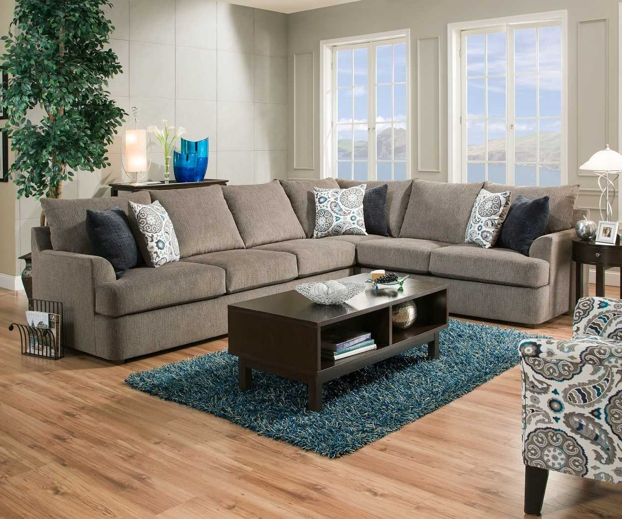 Most Recent Simmons Sectional Sofas Intended For United Simmons Grandstand 8540 Beautyrest Grey Sectional Sofa (View 13 of 15)