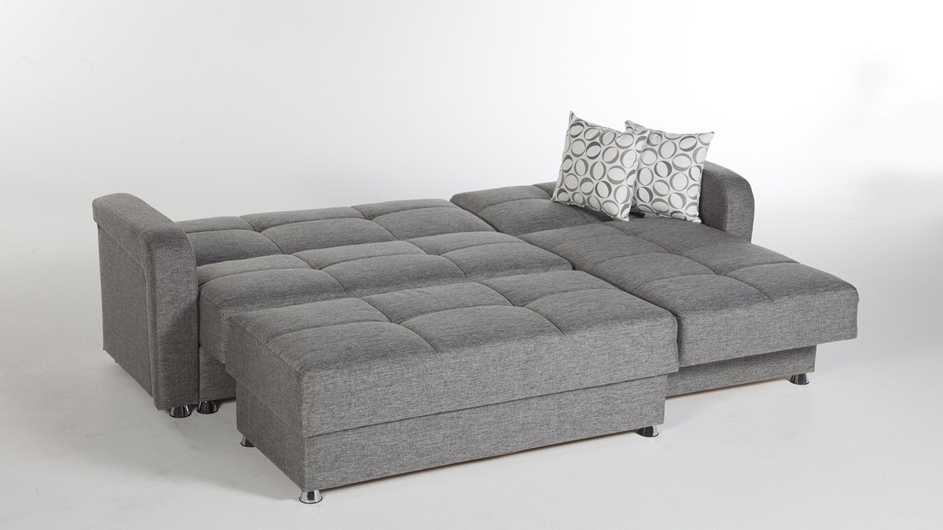 Most Recent Sleeper Sectional Sofas Throughout Vision Diego Gray Sectional Sofaistikbal (Sunset) (View 5 of 15)