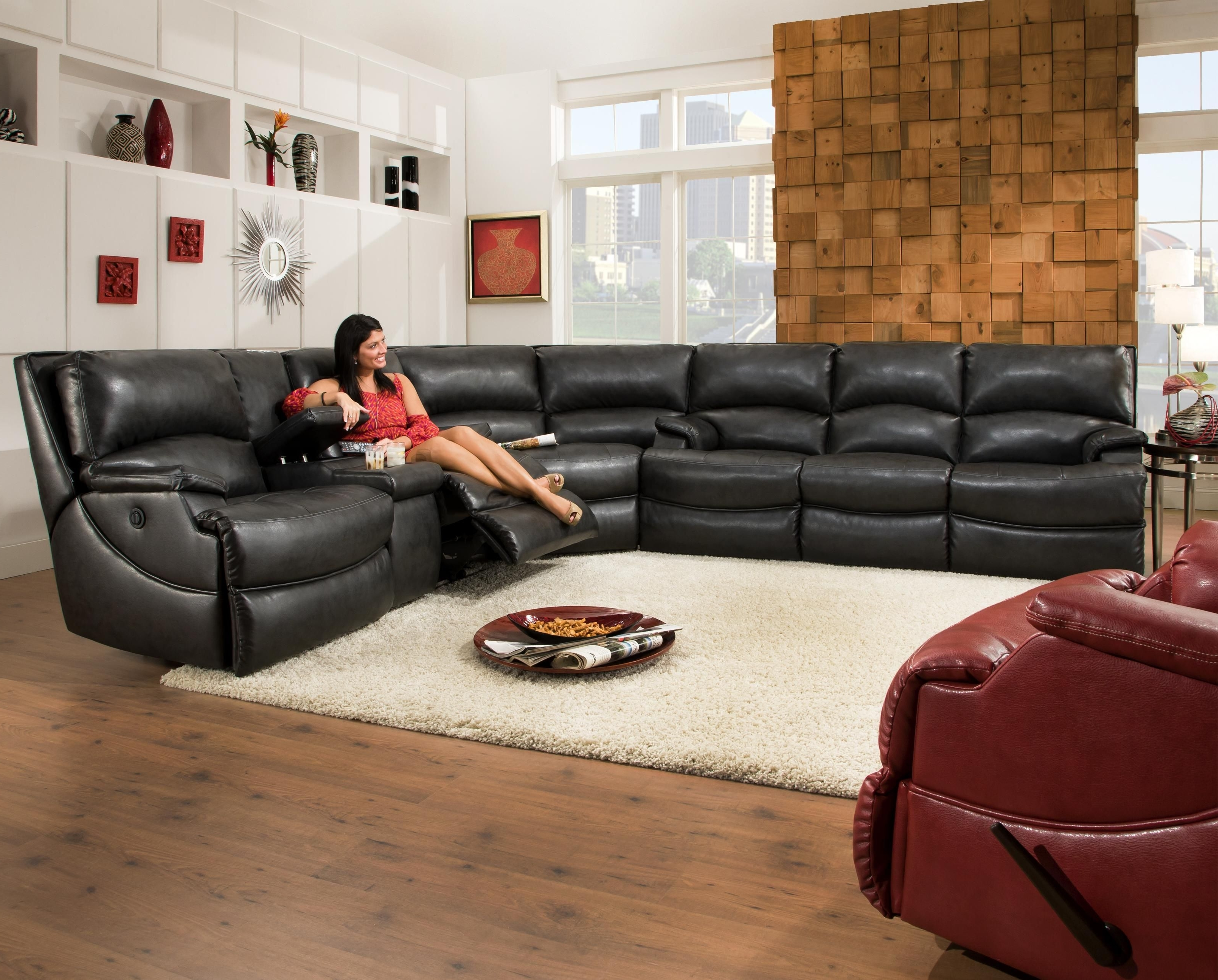 Most Recent Southern Motion Shazam Six Seat Reclining Sectional Sofa With Cup With Regard To Sectional Sofas With Consoles (View 7 of 15)