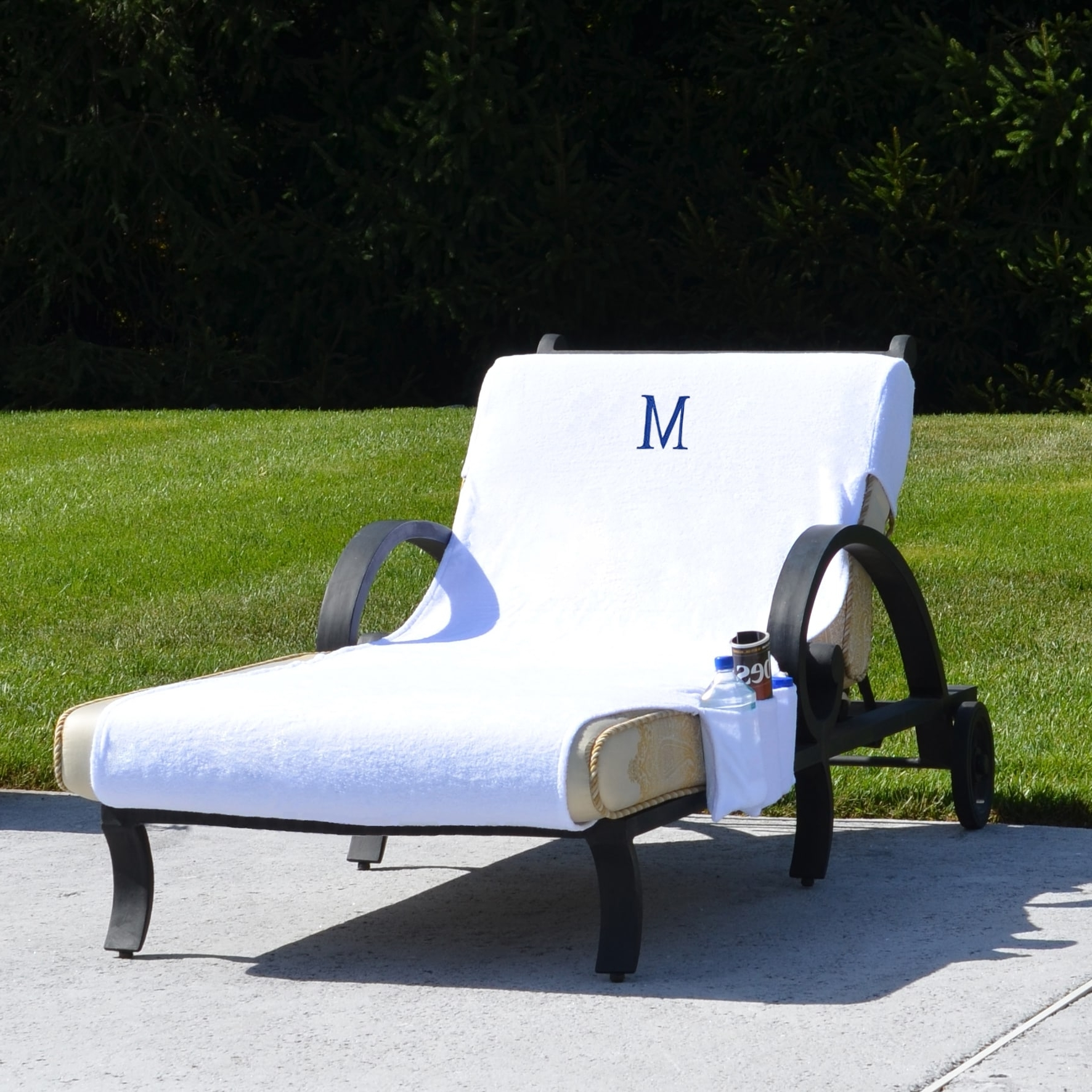 Most Recent Turkish Cotton Monogrammed Towel Cover With Pockets For Standard With Regard To Covers For Chaise Lounge Chair (View 10 of 15)