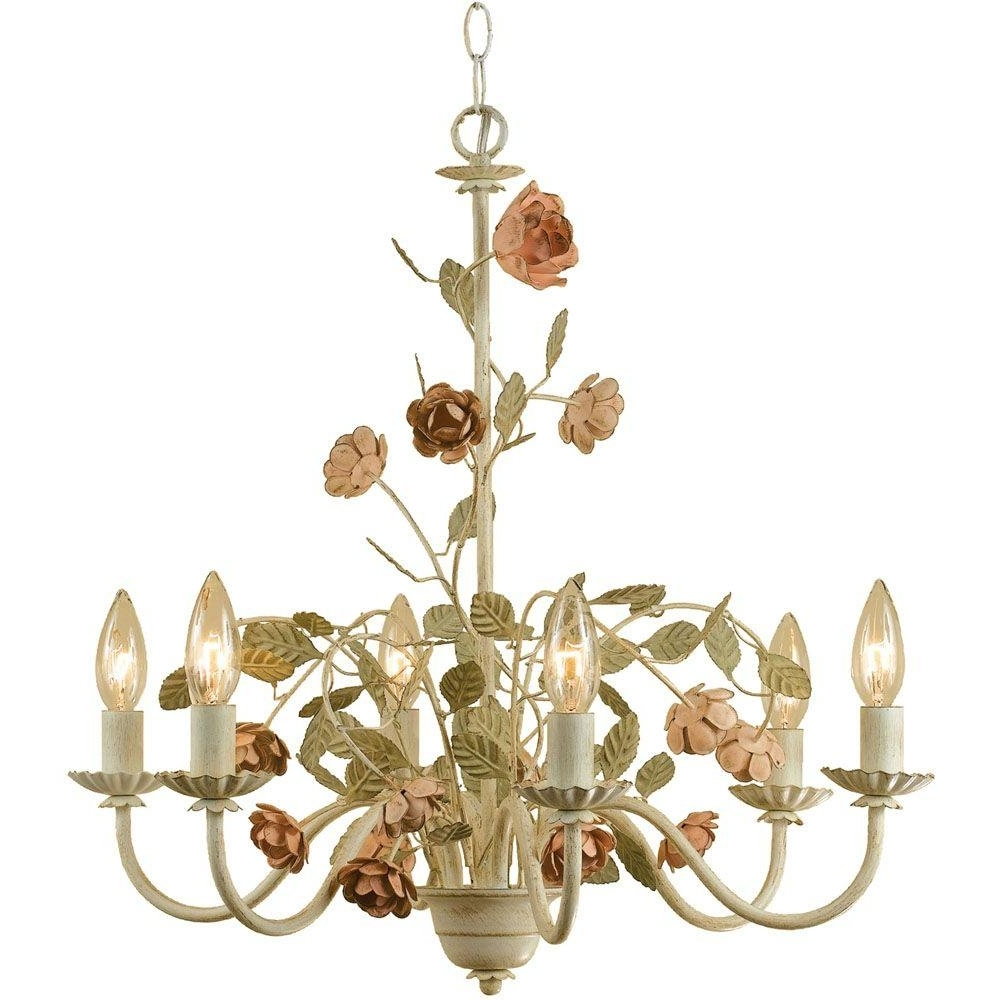 Most Recently Released Af Lighting Ramblin' Rose 6 Light Antique Cream Chandelier With Within Cream Chandelier (View 9 of 15)