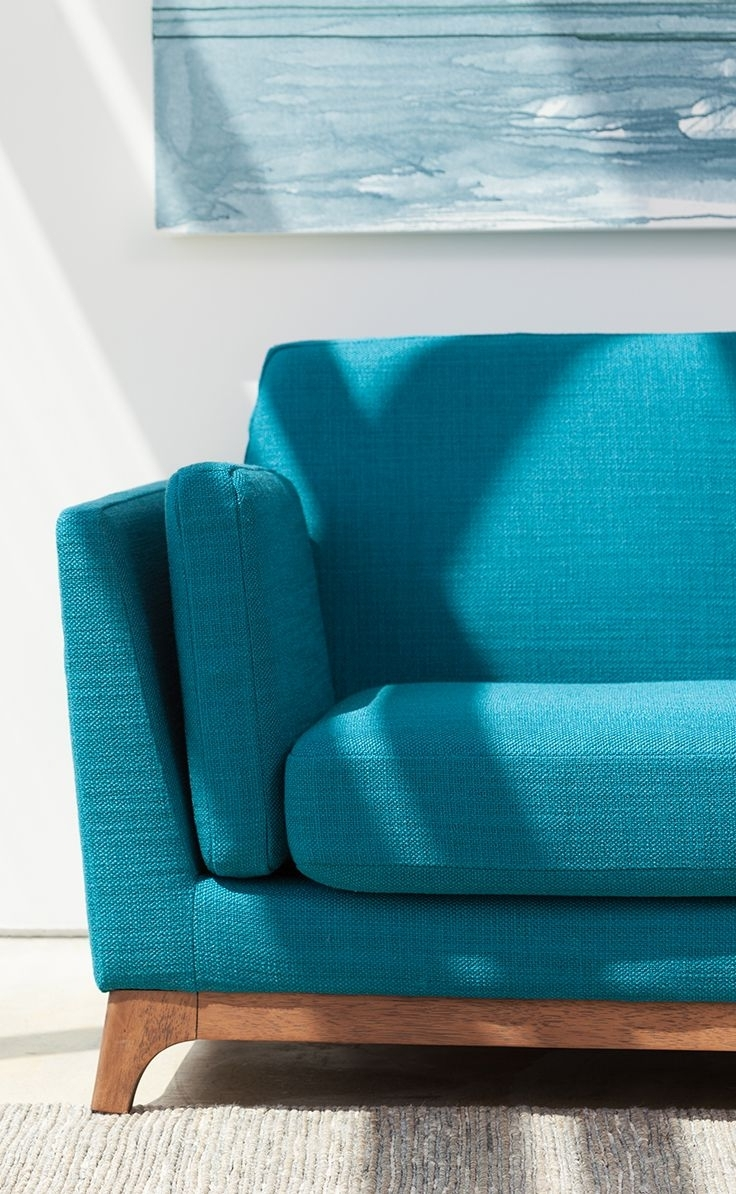 Most Recently Released Beautiful, Solid Honey Oak Base Grounds This Vibrantly Colored Mid With Aqua Sofas (View 7 of 15)