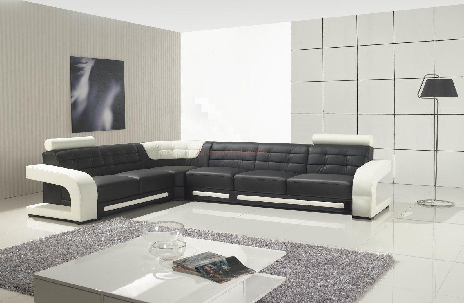 Most Recently Released Best Leather Corner Sofas With Leather Corner Sofa Black White Inside White Leather Corner Sofas (View 9 of 15)