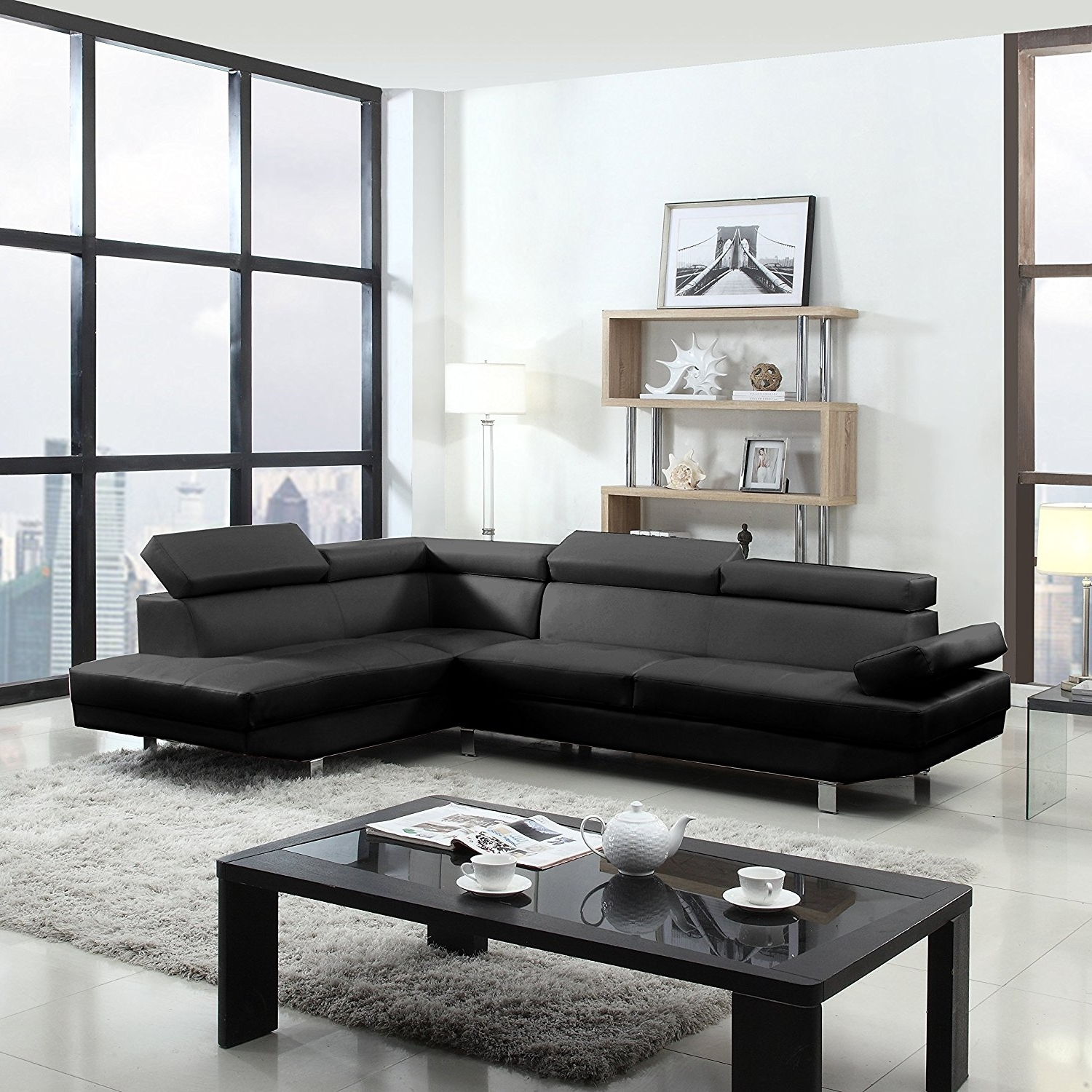 Most Recently Released Black And White Sofas Within Amazon: 2 Piece Modern Contemporary Faux Leather Sectional (View 5 of 15)