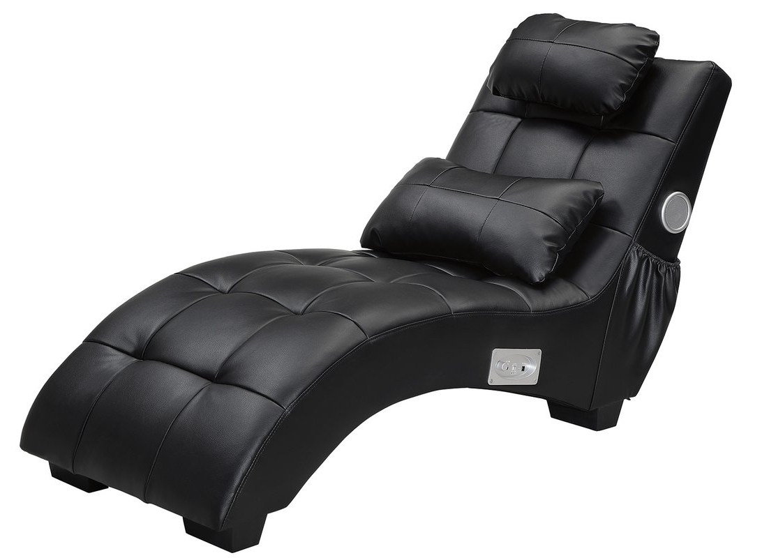 Most Recently Released Black Chaise Lounges Throughout Latitude Run Khronos Leather Chaise Lounge & Reviews (View 11 of 15)