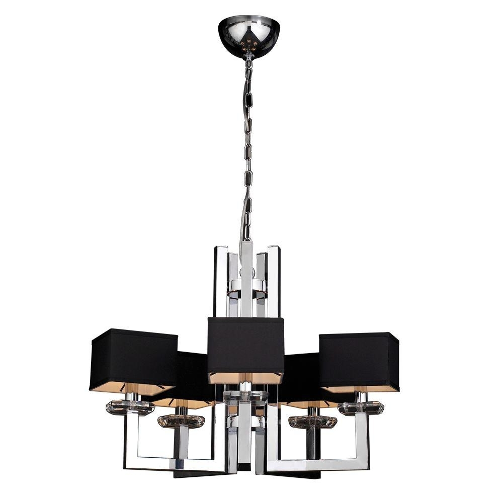 Most Recently Released Black Chandeliers With Shades Pertaining To Plc Lighting 5 Light Polished Chrome Chandelier With Black Fabric (View 10 of 15)