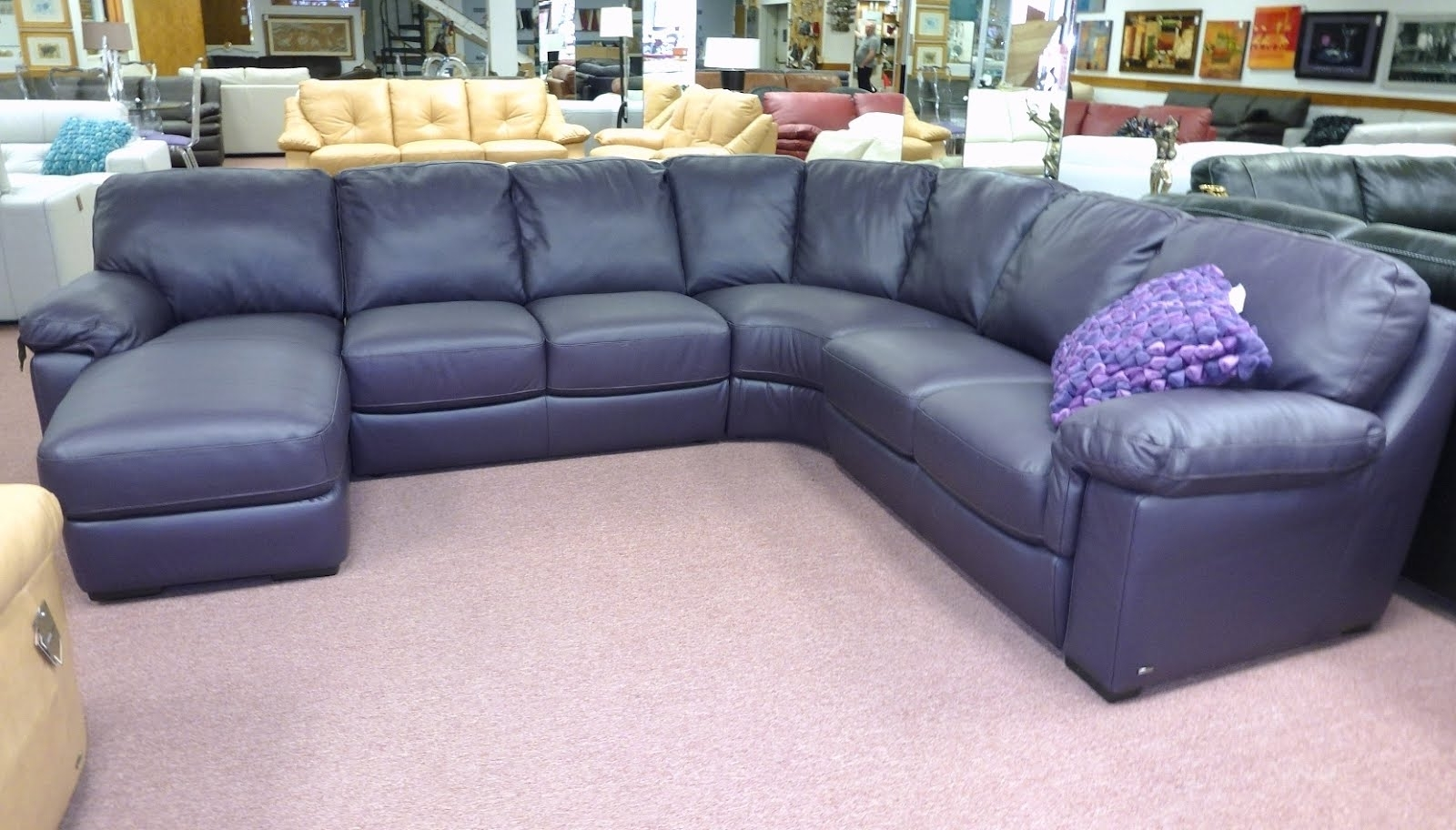 Most Recently Released Blue Sectional Sofas With Chaise Throughout Sectional Sofa Design: Amazing Navy Blue Leather Sectional Sofa (View 11 of 15)