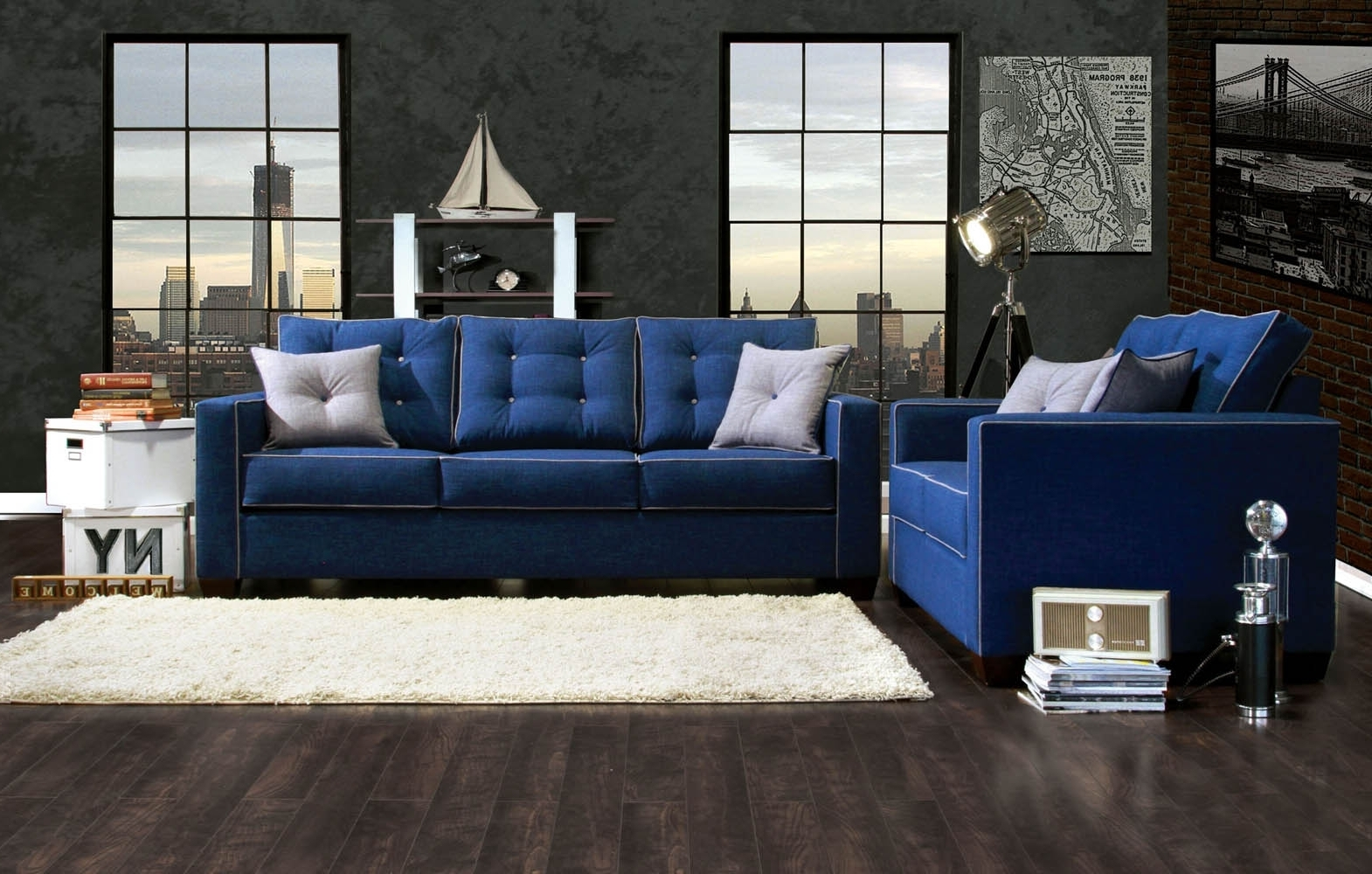 Most Recently Released Blue Sofa Living Room Ideas With Wall Brick Decor And Dark Wooden With Regard To Dark Blue Sofas (View 9 of 15)