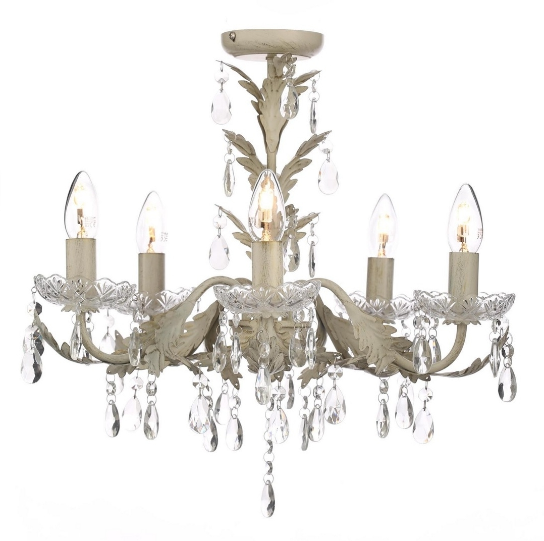 Most Recently Released Chandelier Ceiling Light Candle Effect Paisley Cream Flush Home Inside Cream Chandelier (View 10 of 15)
