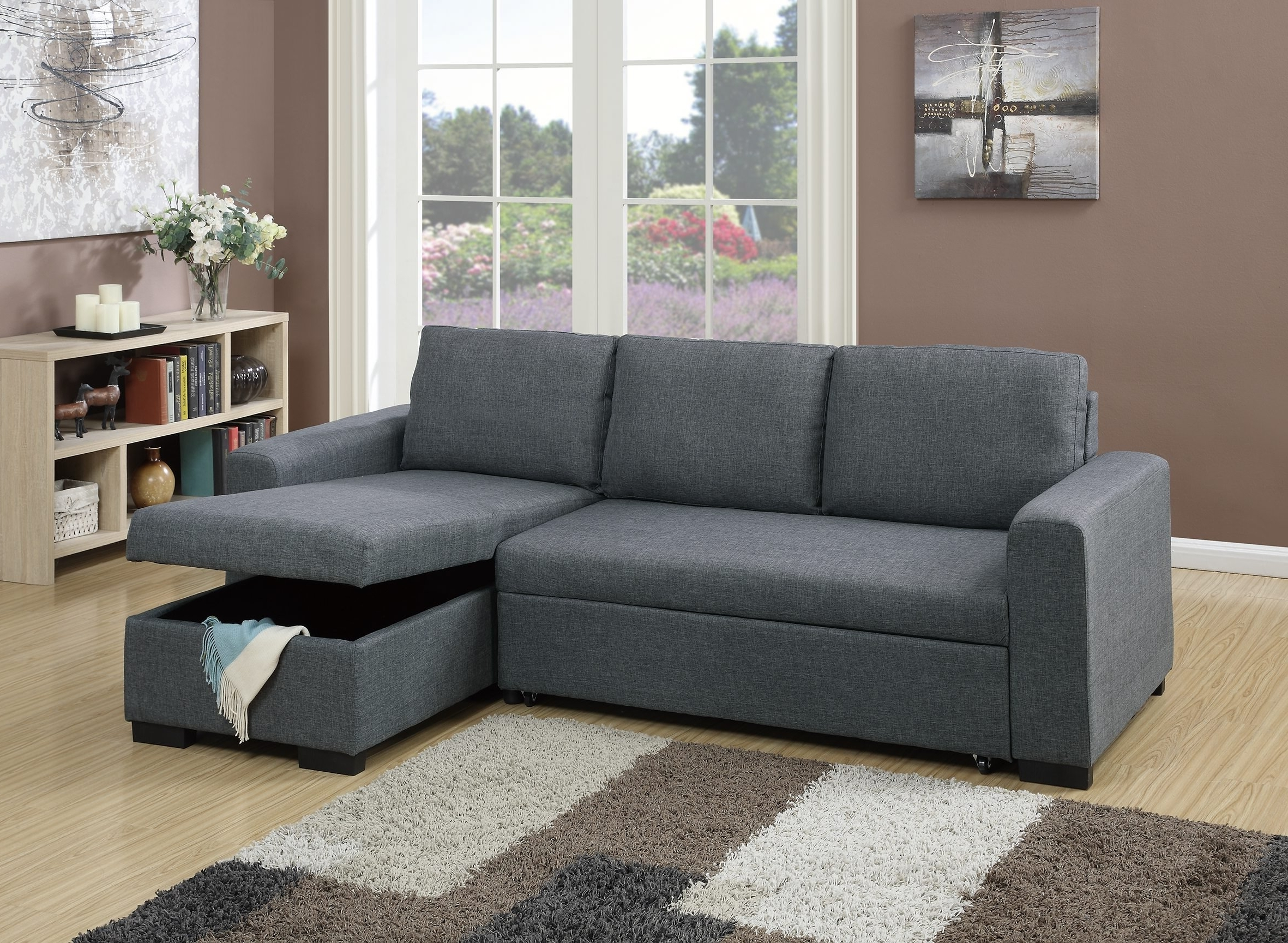 Most Recently Released Convertible Sectional Sofas In F6931 Blue Gray Convertible Sectional Sofapoundex (View 11 of 15)