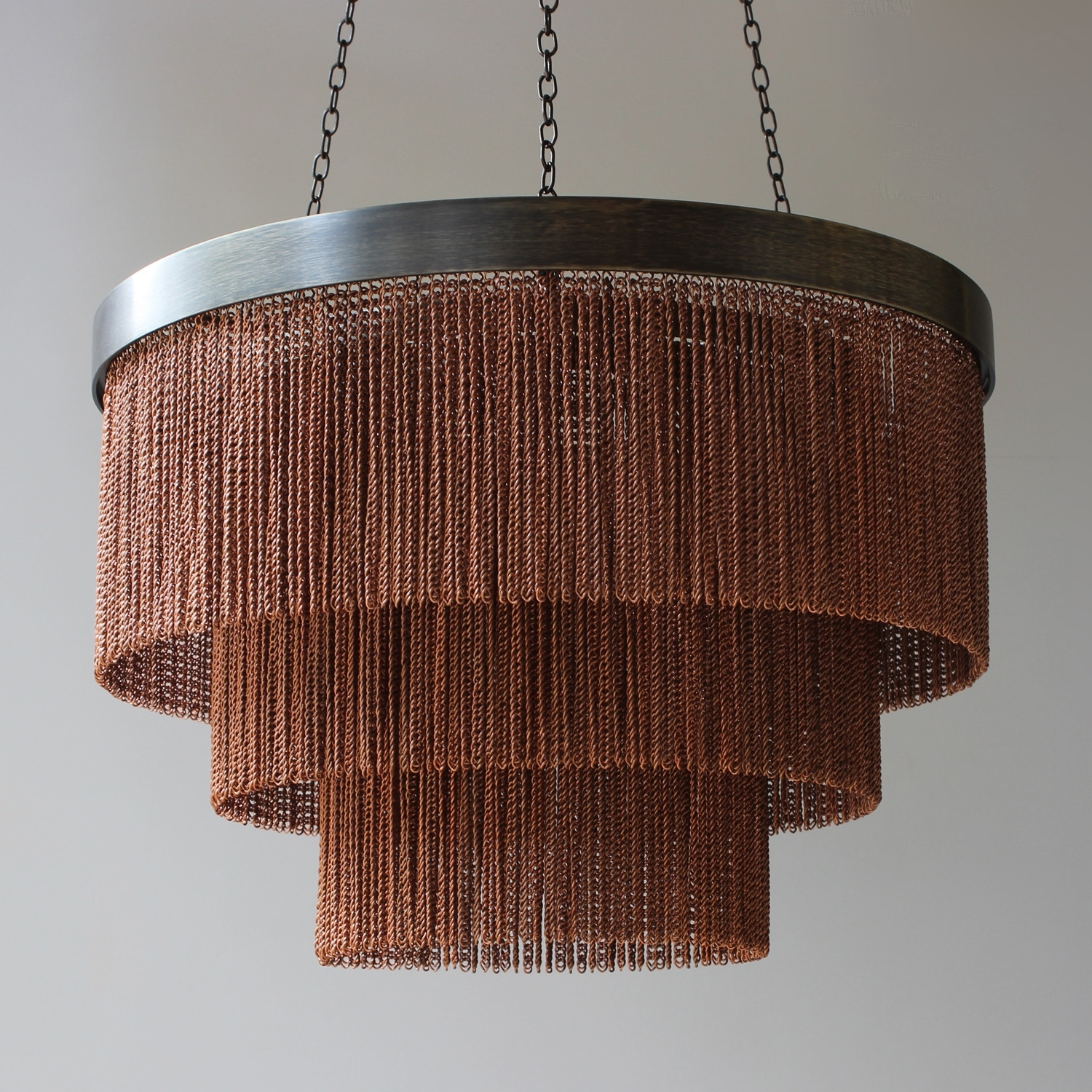 Most Recently Released Copper Chain Shallow Chandelier – Tigermoth Lighting Throughout Copper Chandeliers (View 7 of 15)