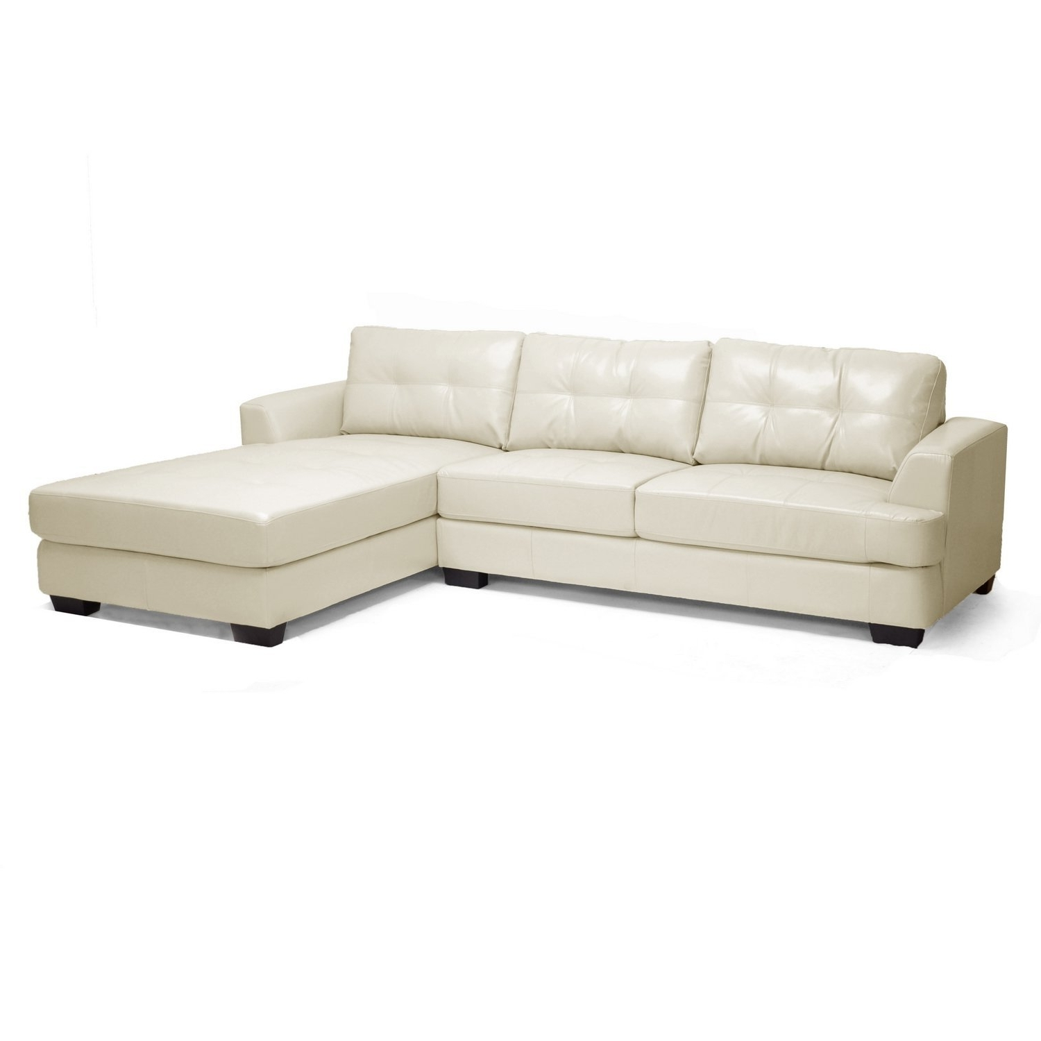 Most Recently Released Cream Chaise Sofas With Regard To Amazon: Baxton Studio Dobson Leather Modern Sectional Sofa (View 6 of 15)