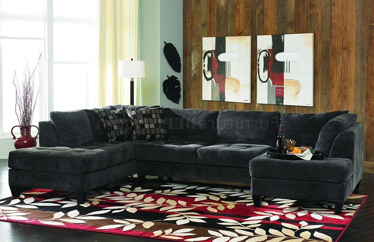 Most Recently Released Double Chaise Sectional Sofas Within Charcoal Gray Fabric Contemporary Double Chaise Sectional Sofa (View 11 of 15)