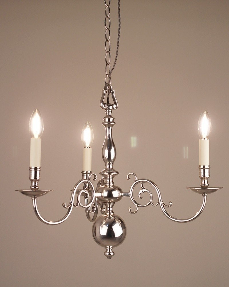 Most Recently Released Edwardian Chandeliers Pertaining To 3 Branch Silver Plate Dutch Style Antique Chandelier, Antique Lighting (View 9 of 15)