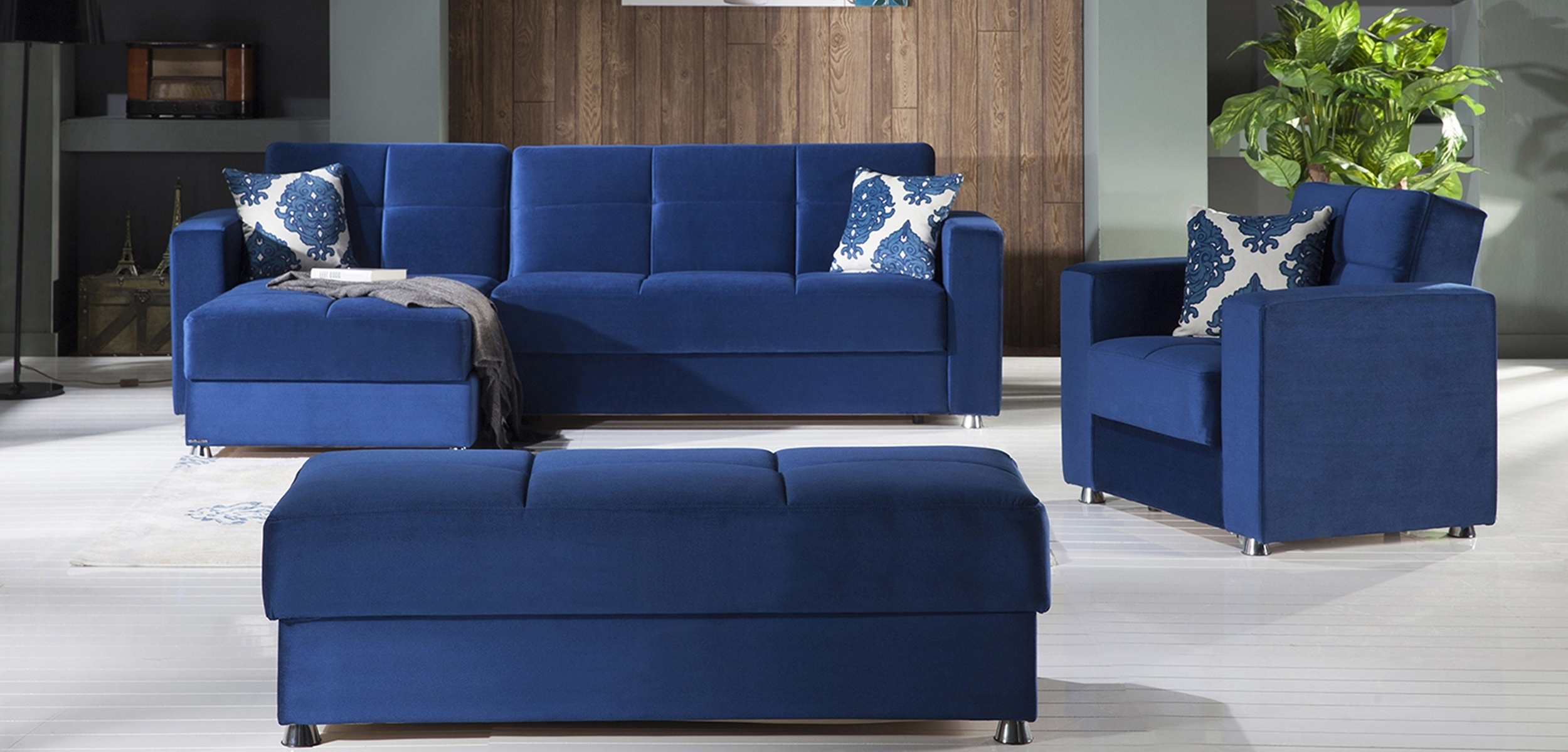 Most Recently Released Elegant Convertible Sectional Sofa In Roma Navy Plainistikbal Intended For Convertible Sectional Sofas (View 12 of 15)