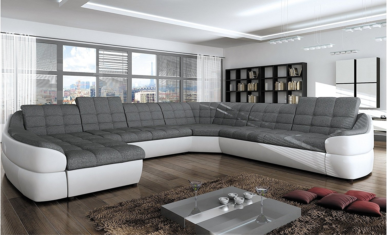 """Most Recently Released Fabric Corner Sofas Intended For Bmf """"infinity Xl"""" White Grey 6 Seater Extra Large Faux Leather (View 15 of 15)"""