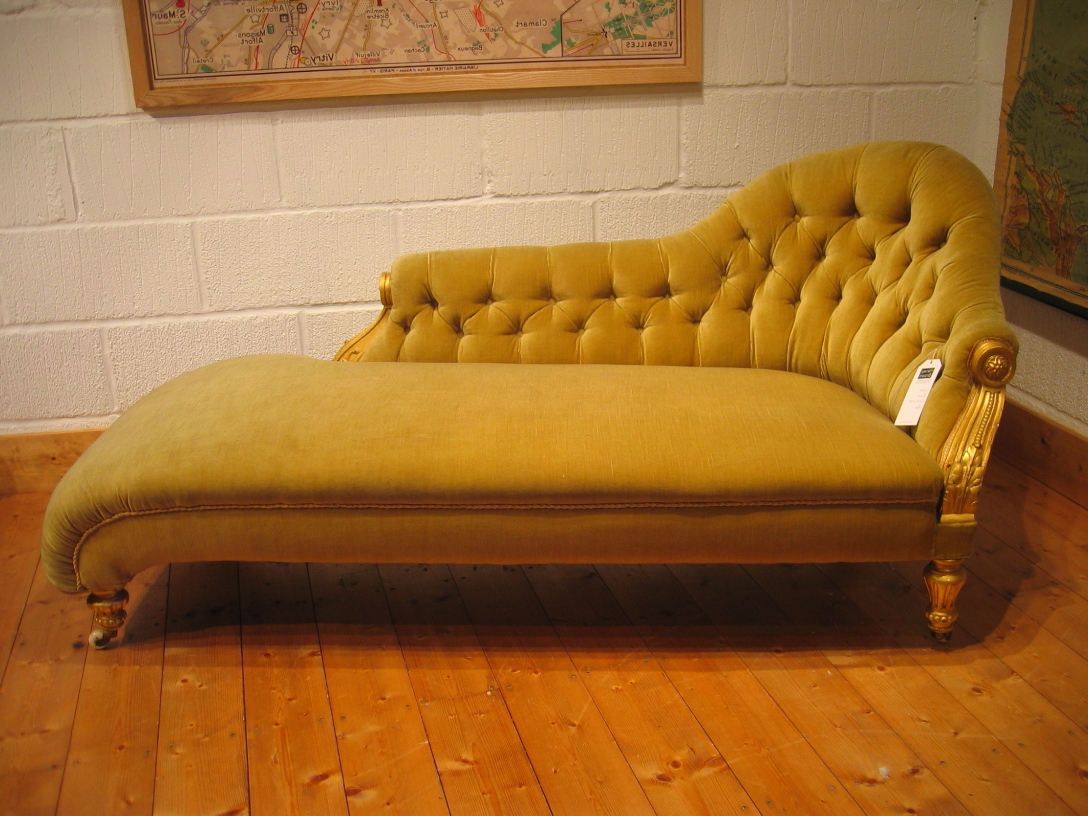Most Recently Released Home Decor: Yellow Color Antique Victorian Chaise Lounge Sofa Bed Pertaining To Vintage Indoor Chaise Lounge Chairs (View 5 of 15)