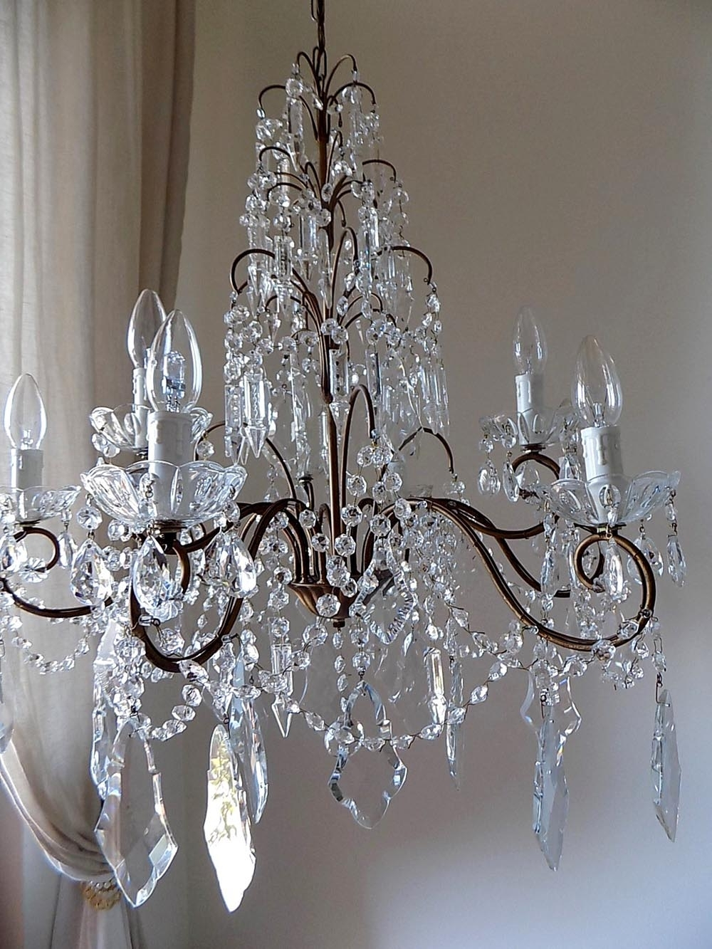 Most Recently Released Italian Vintage 9 Arms Chandelier With Rare Shaped Crystals In Brass And Crystal Chandeliers (View 10 of 15)