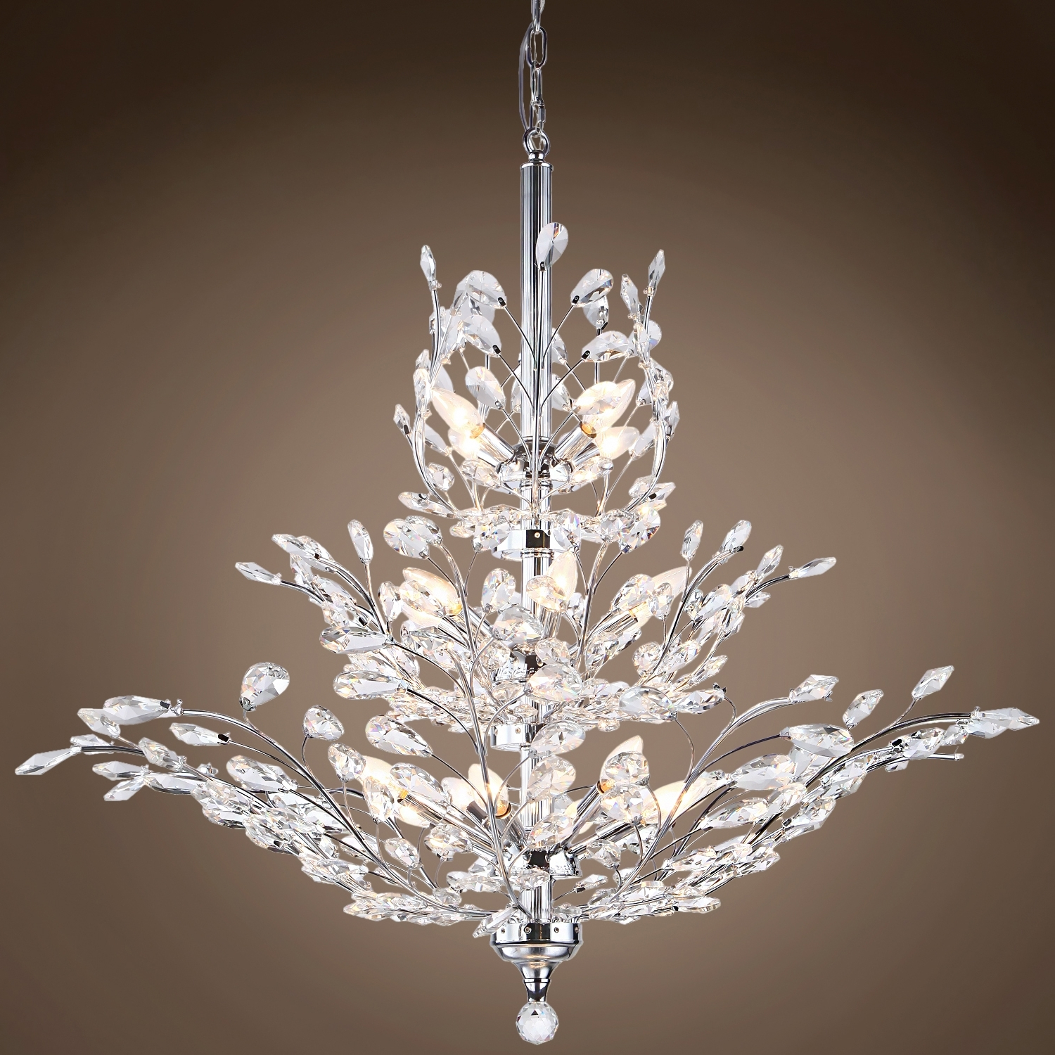 Most Recently Released Joshua Marshal 700109 Branch Of Light 13 Light Chrome Chandelier regarding Branch Crystal Chandelier