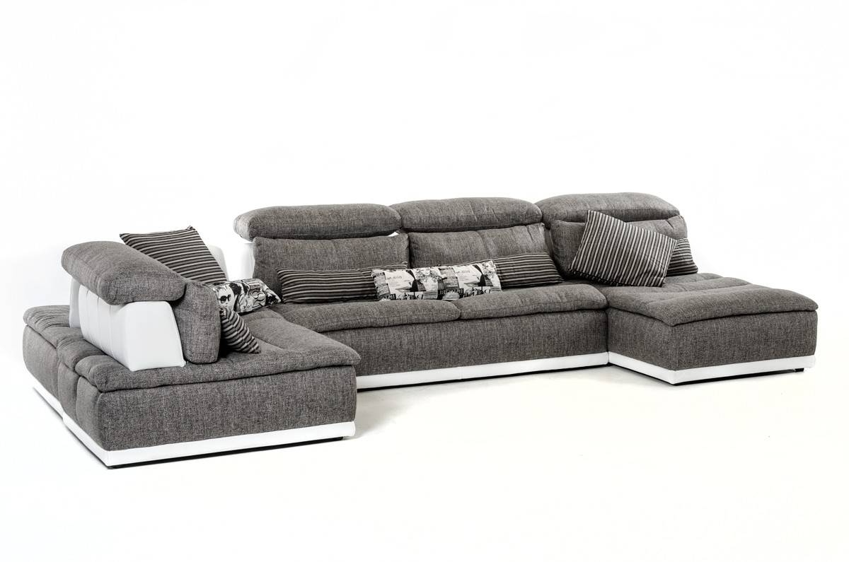Most Recently Released Made In Italy Grey Fabric And White Leather Sectional Sofa El Paso In El Paso Sectional Sofas (View 2 of 15)