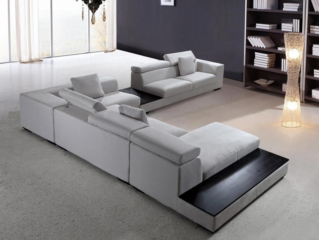 Most Recently Released Modern Sectional Sofa Grey Microfiber Vg Fort (View 5 of 15)