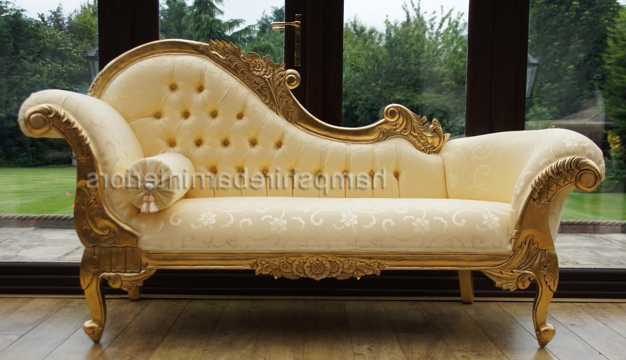 Most Recently Released Ornate Medium French Style Medium Chaise Longue Gold Free Delivery Within French Chaises (View 1 of 15)