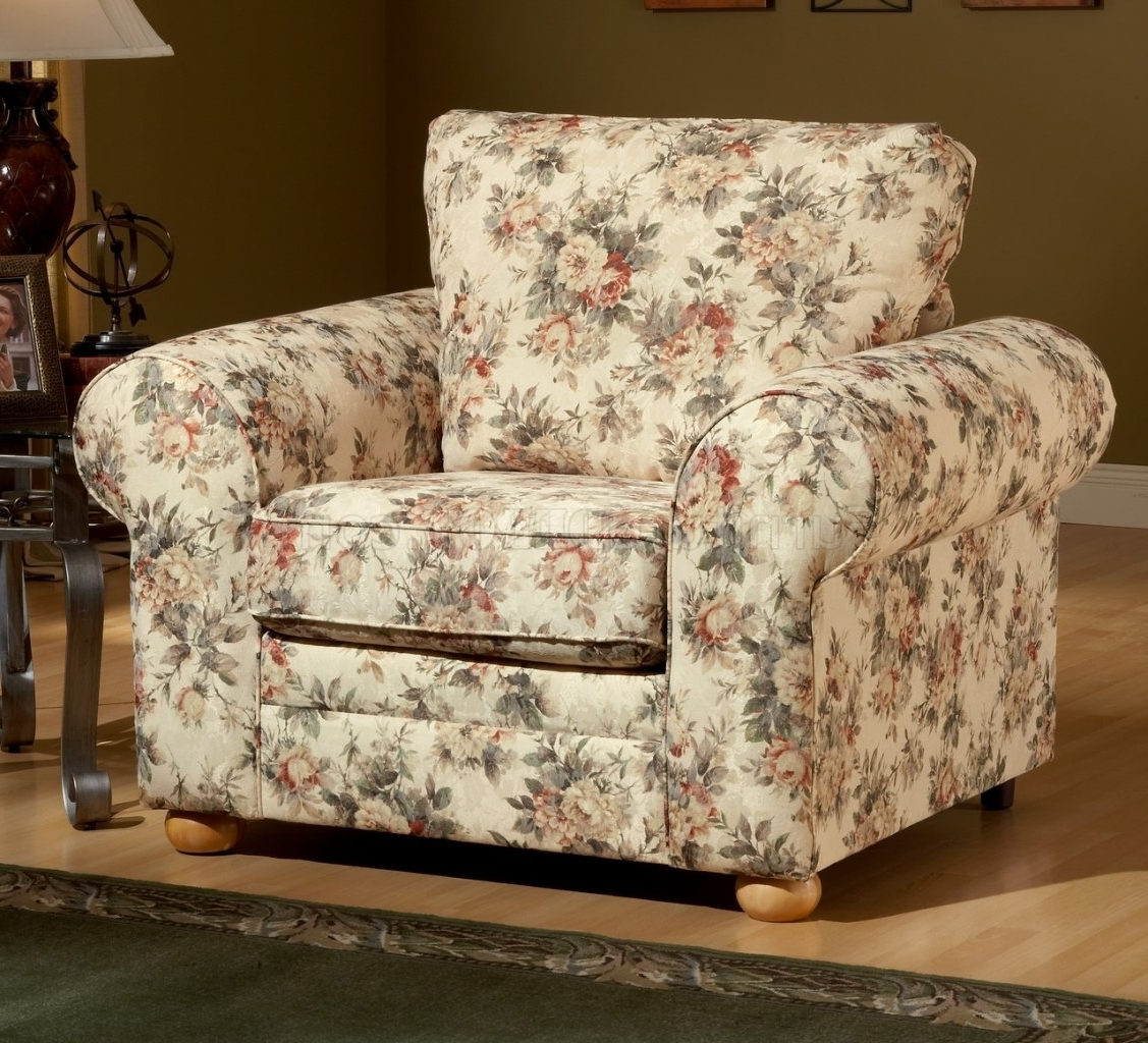 Most Recently Released Pattern Fabric Traditional Sofa & Loveseat Set For Floral Sofas And Chairs (View 4 of 15)