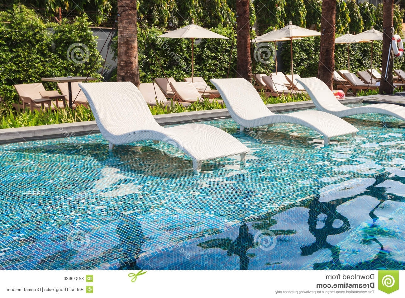 Most Recently Released Pool Chaise Lounges For Chaise Lounge In Swimming Pool Stock Photo Image Of Paradise (View 8 of 15)
