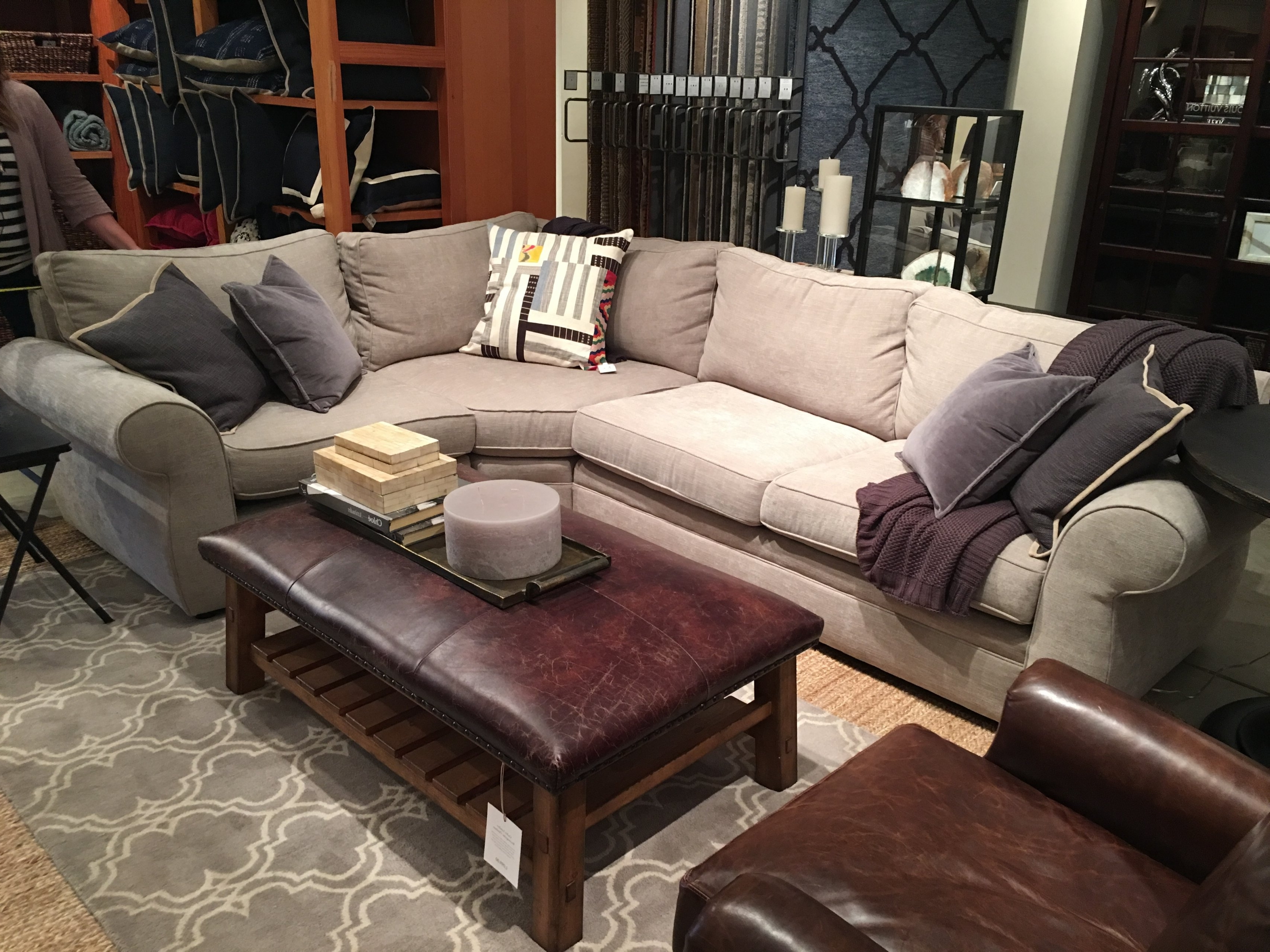 Most Recently Released Pottery Barn Chaises Intended For Back Sofa Or Grey Sectional With Chaise Plus Cream Tufted (View 10 of 15)