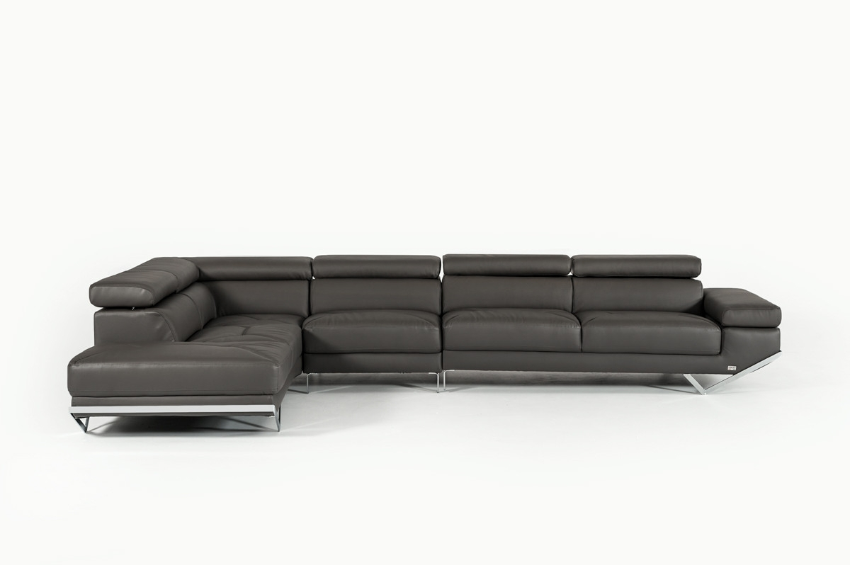 Most Recently Released Quebec Sectional Sofas For Casa Quebec Modern Dark Grey Eco Leather Large Sectional Sofa (View 9 of 15)