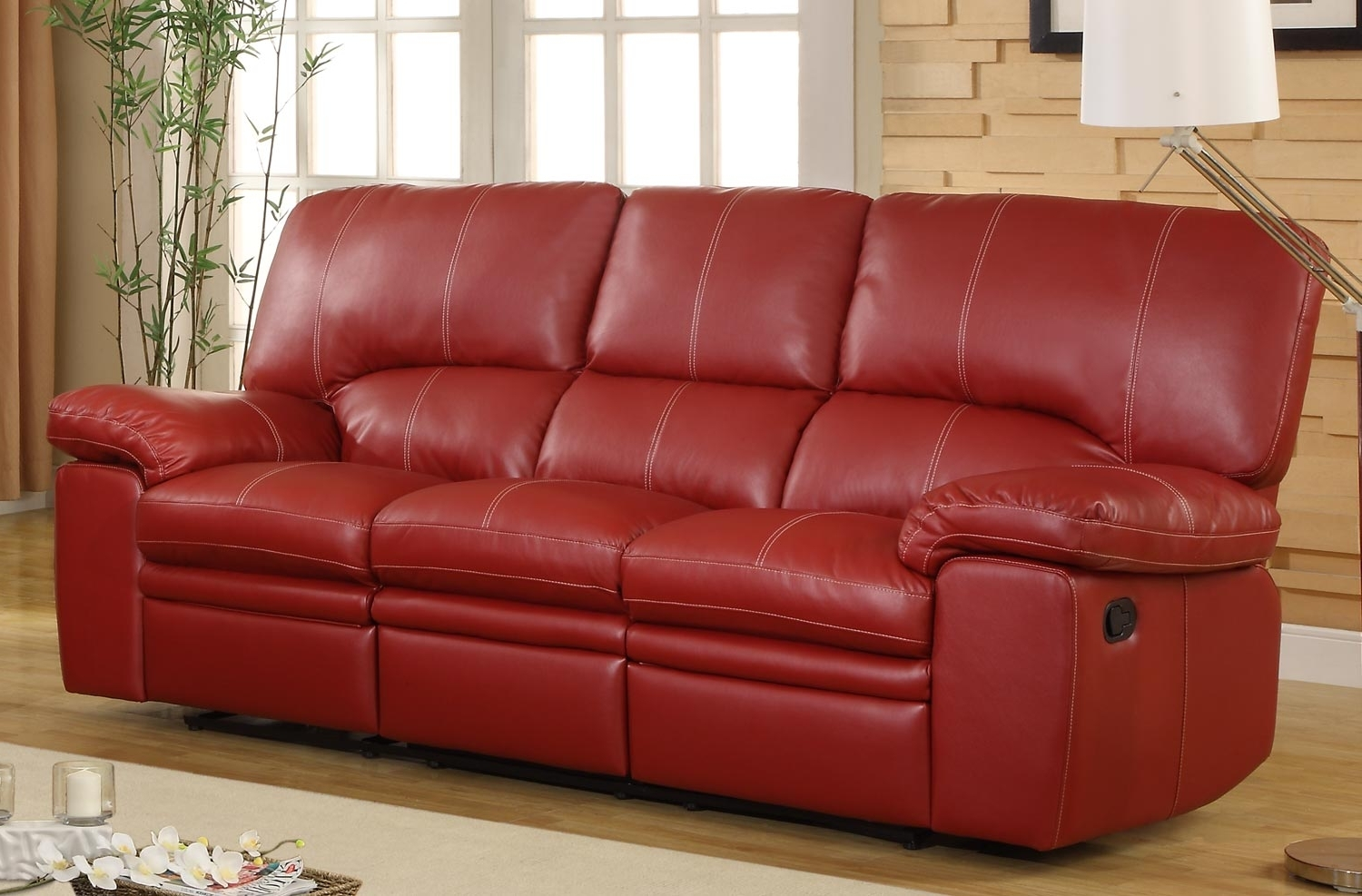 Most Recently Released Red Leather Sectional Sofas With Recliners Regarding Homelegance Kendrick Double Recliner Sofa – Red – Bonded Leather (View 5 of 15)