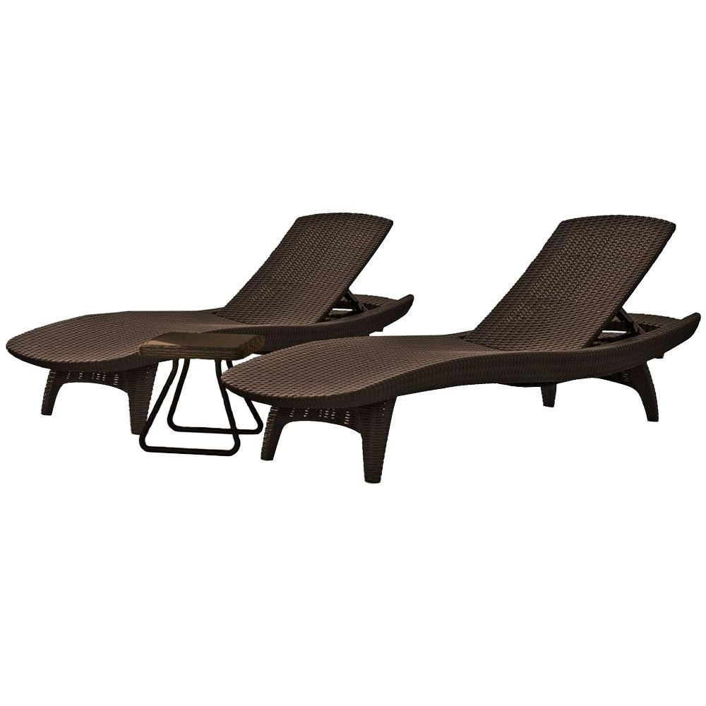 Most Recently Released Resin Chaise Lounge Chairs With Regard To Keter Pacific Whiskey Brown All Weather Adjustable Resin Patio (View 6 of 15)