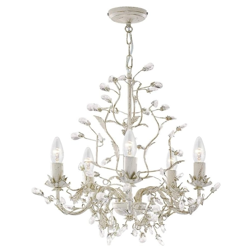 Most Recently Released Searchlight 2495 5Cr Almandite 5 Light Cream & Gold Chandelier In Cream Gold Chandelier (View 11 of 15)