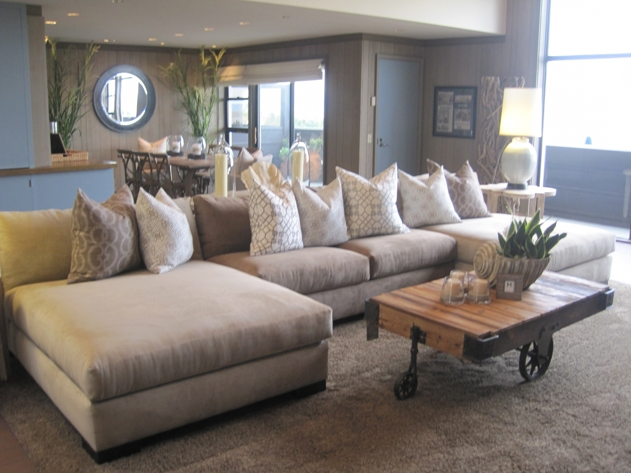 Most Recently Released Sectional Sofas With Oversized Ottoman Within Sofa : Living Room: Sectional With Chaise Lounge (View 7 of 15)