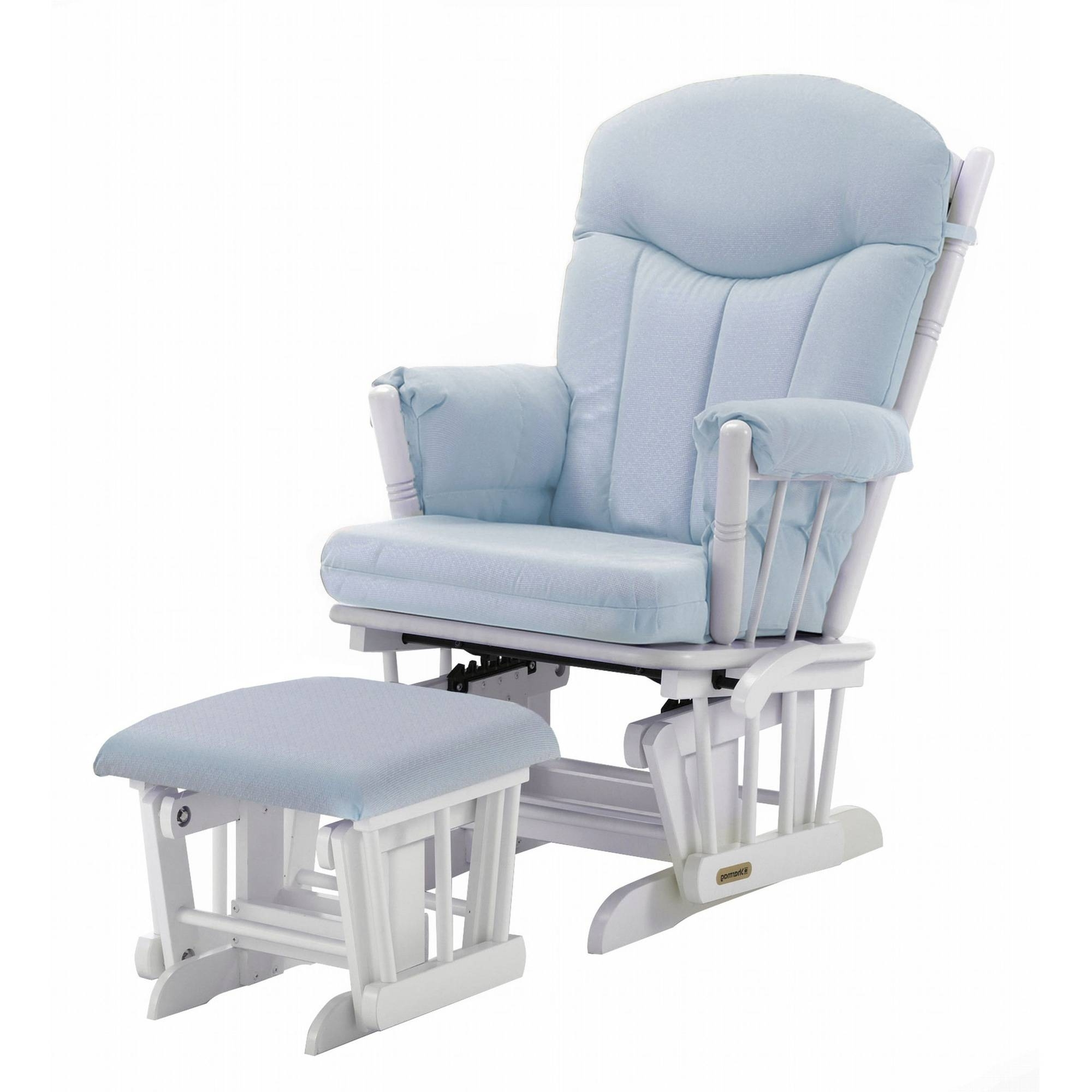 Most Recently Released Shermag Combo Glider/ottoman, White/pickwick Light Blue – Walmart Throughout Gliders With Ottoman (View 14 of 15)
