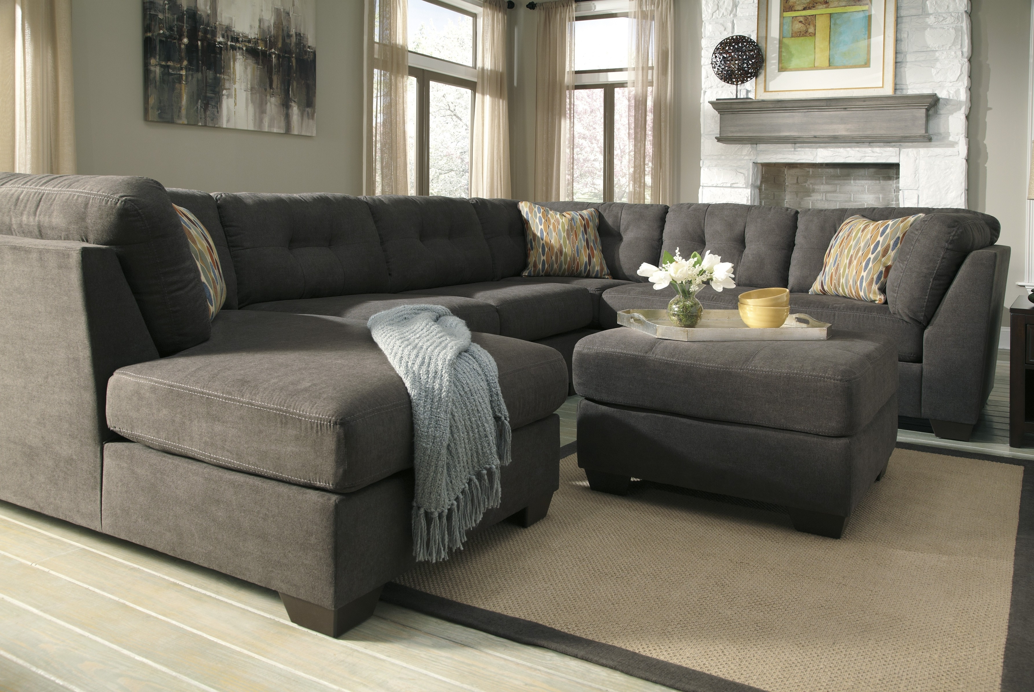 Most Recently Released Tufted Sectionals With Chaise In Decorations Inspiration Lovable Grey Velvet U Shaped Tufted (View 12 of 15)