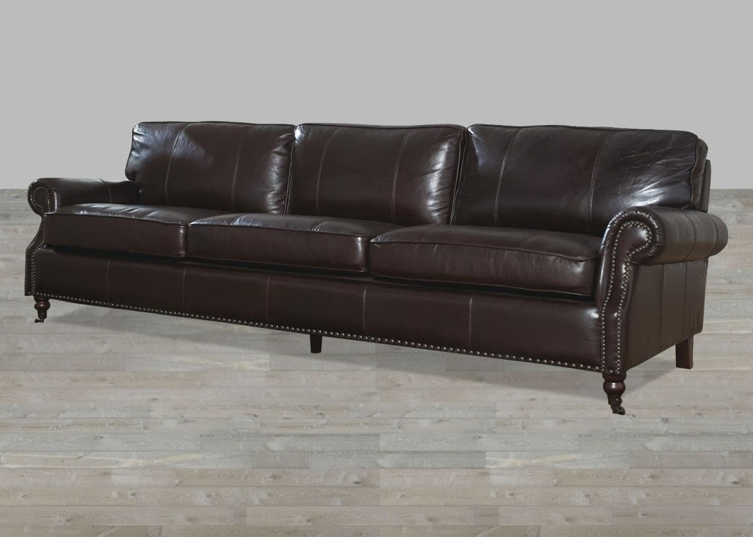 Most Up To Date 4 Seat Leather Sofas Pertaining To Dark Chocolate Leather Vintage 4 Seat Sofa (View 9 of 15)