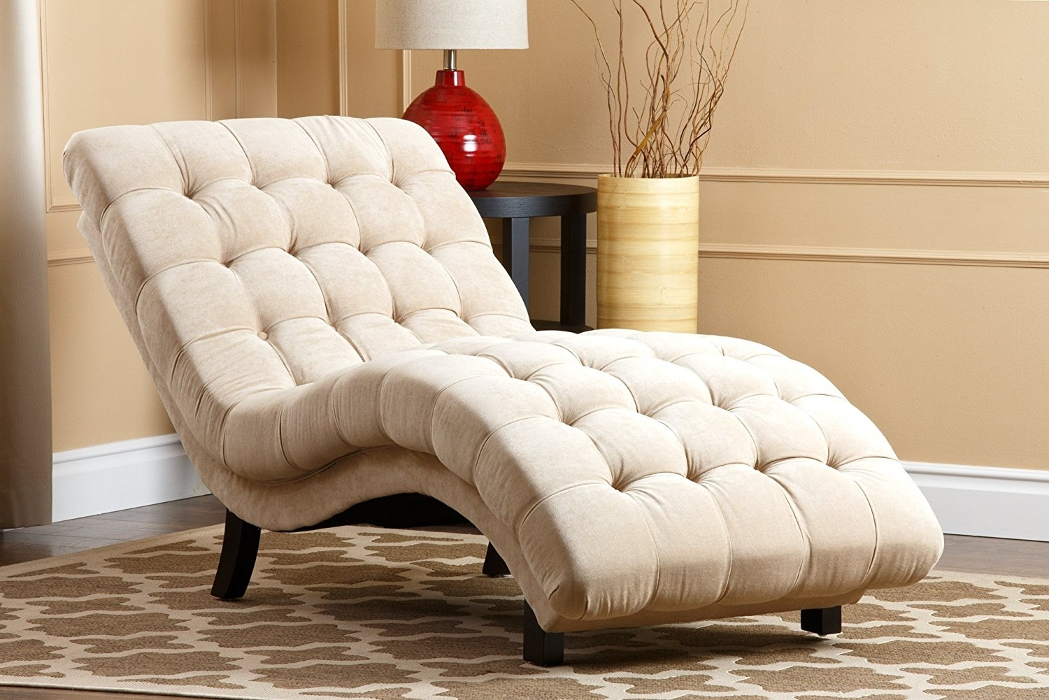 Most Up To Date Amazon: Abbyson Carmen Cream Fabric Chaise: Home & Kitchen Regarding Upholstered Chaise Lounges (View 8 of 15)