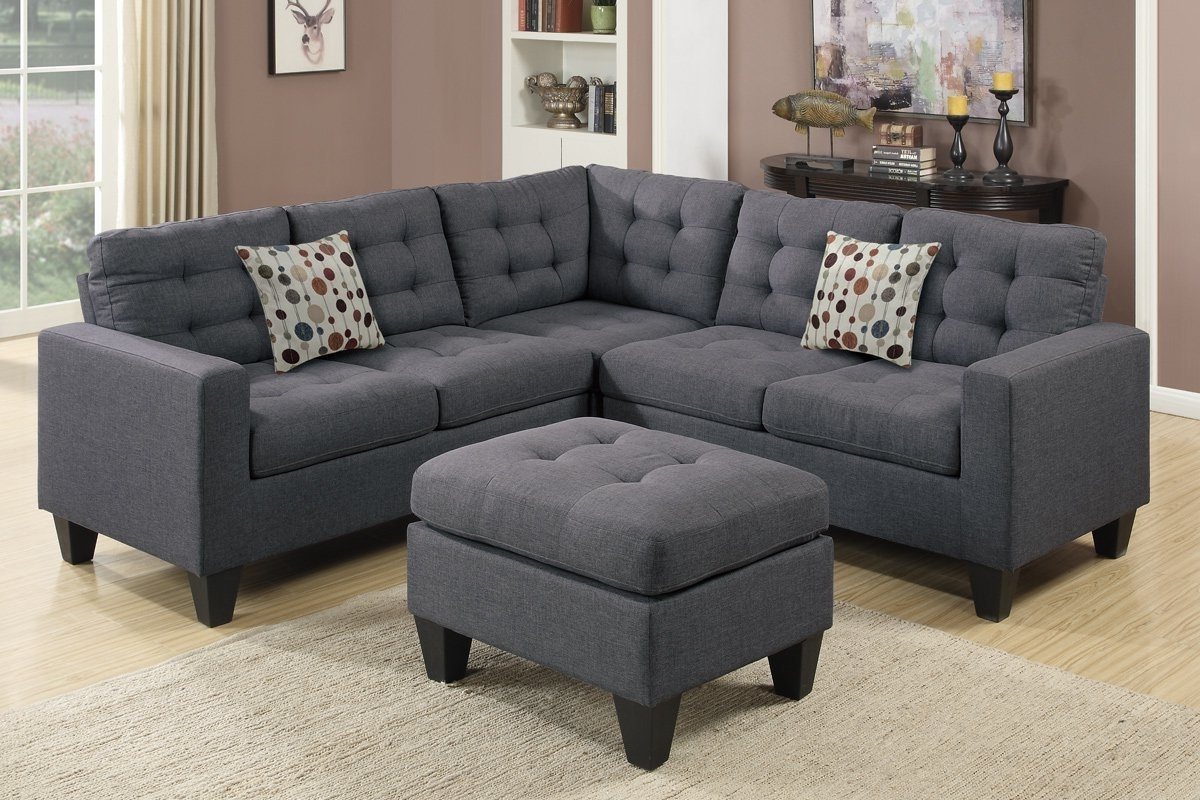 Most Up To Date Amazon: Poundex F6935 Bobkona Norton Linen Like 4 Piece Within Cheap Sectionals With Ottoman (View 12 of 15)