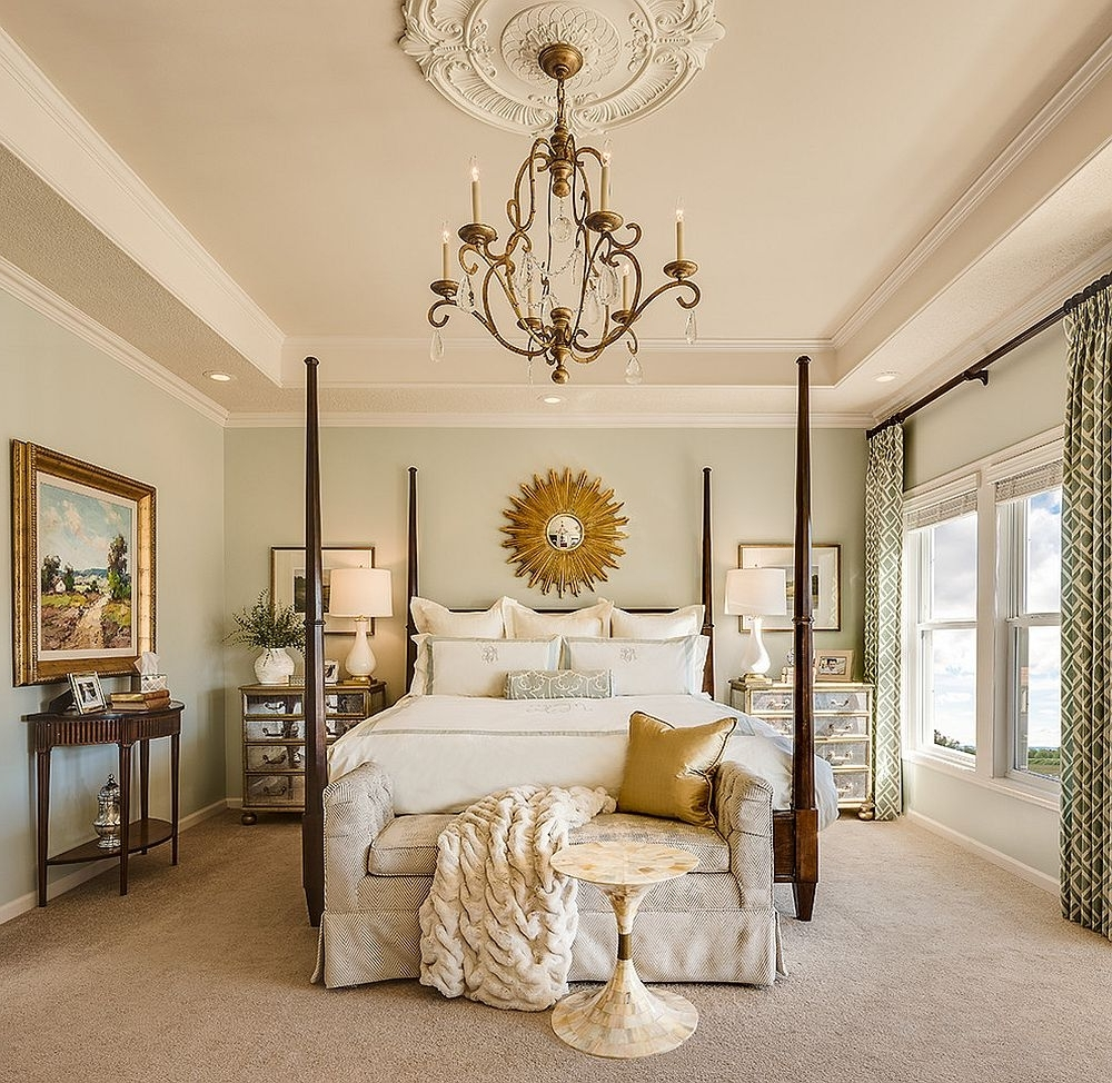 Most Up To Date Bedroom Chandeliers With Gorgeous And Comfortable Bedroom With Sunburst Mirror And Lovely (View 11 of 15)