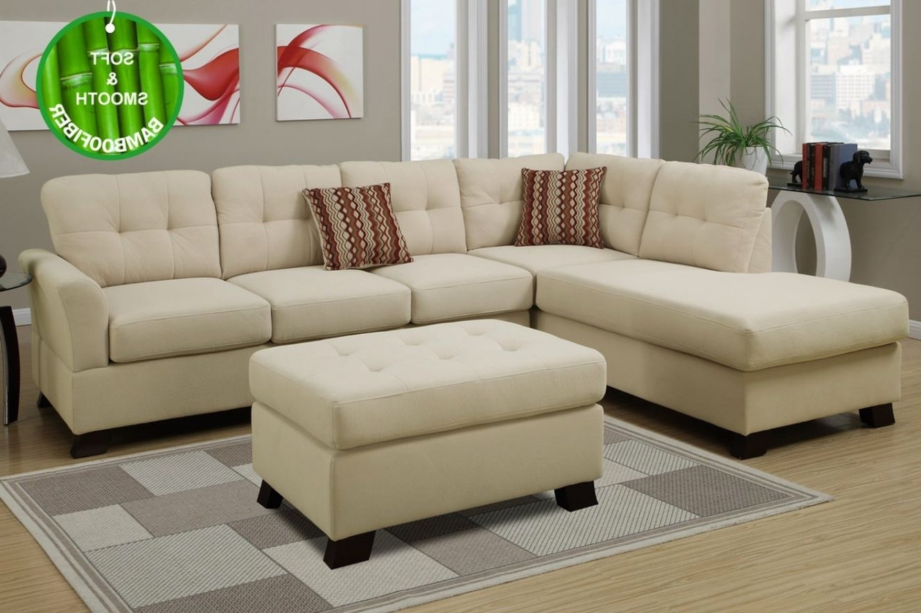 Most Up To Date Beige Sectional Sofas With Regard To Beige Fabric Sectional Sofa And Ottoman ( Beige Sectional Sofas # (View 2 of 15)
