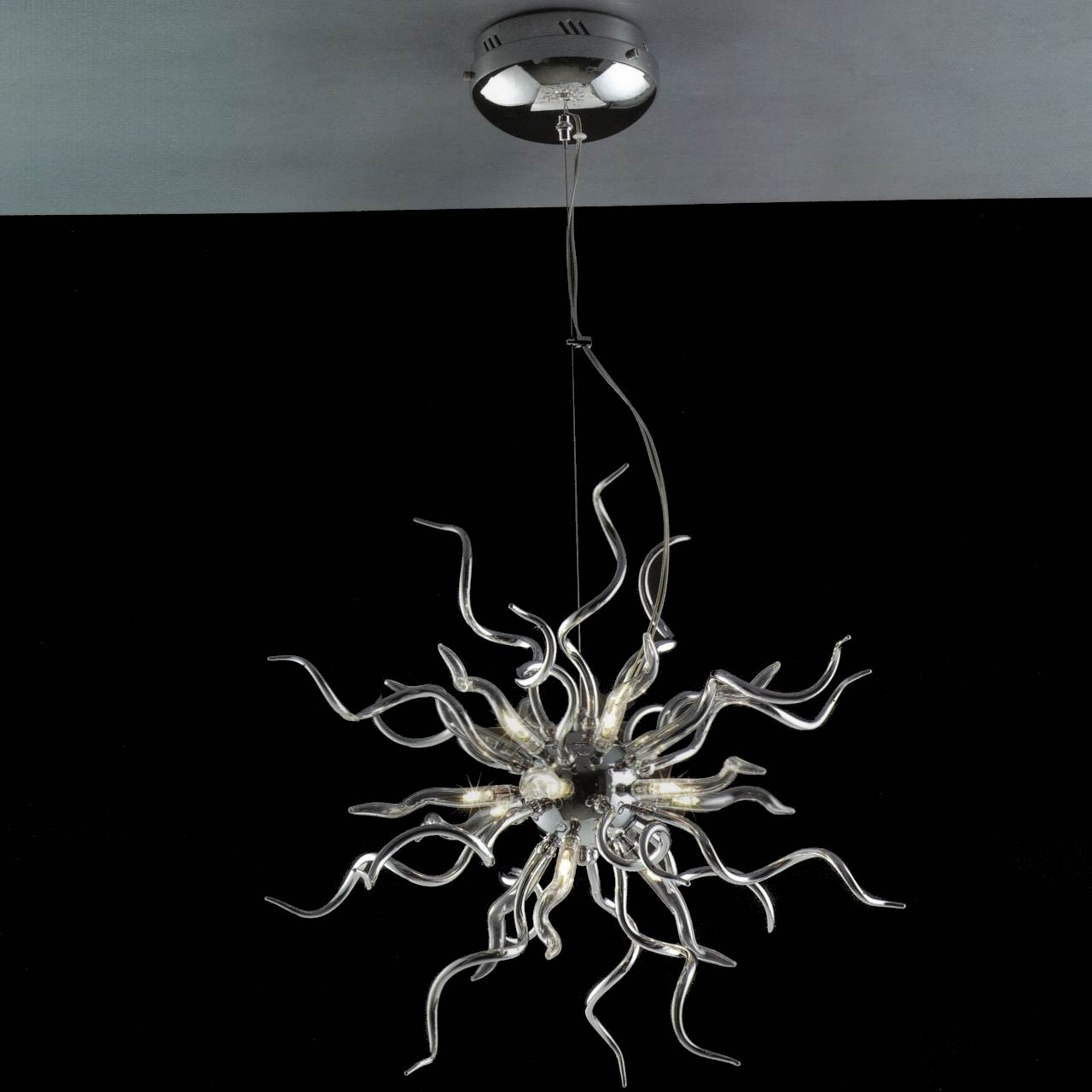 Most Up To Date Chrome And Glass Chandelier With Brizzo Lighting Stores (View 5 of 15)