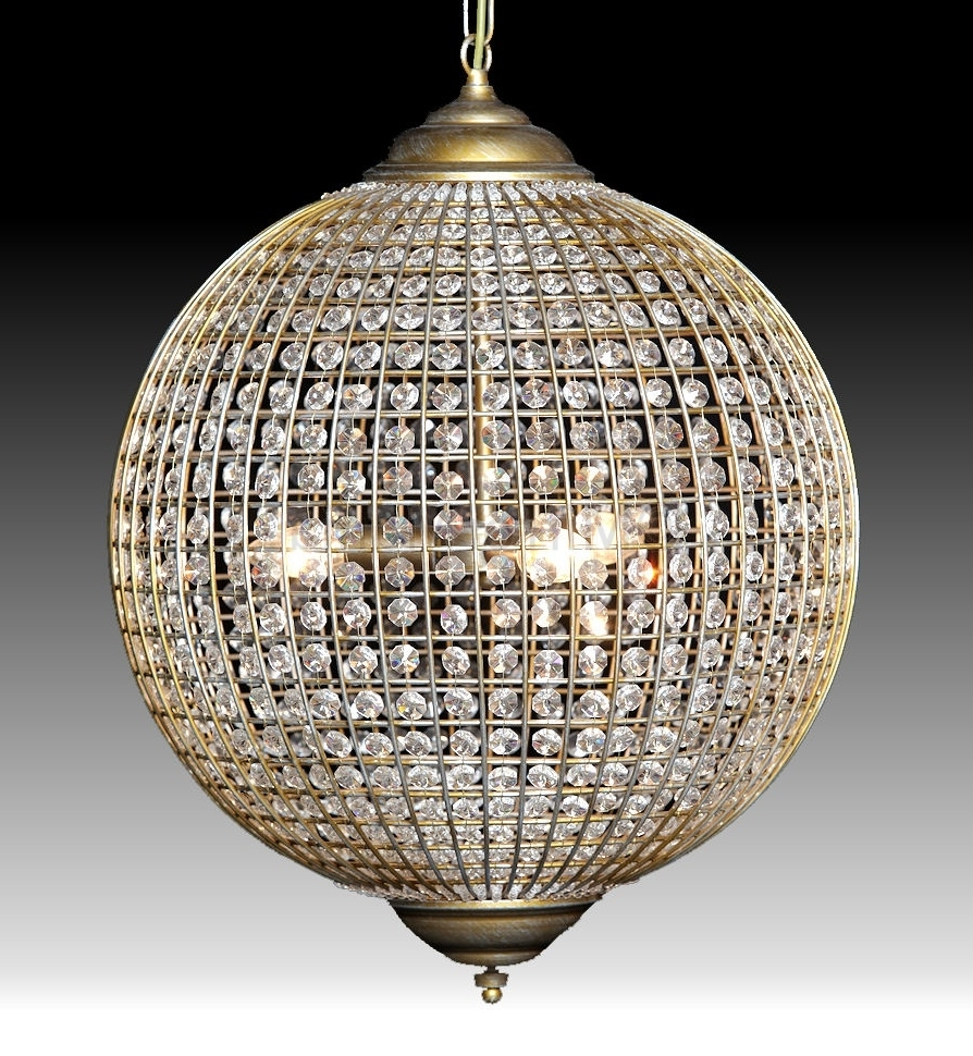 Most Up To Date Crystal Globe Chandelier Pertaining To Globe Chandelier Small Bathroom Design With Beautiful Crystal (View 13 of 15)