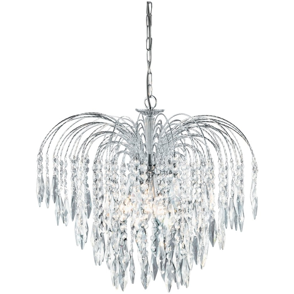 Most Up To Date Crystal Waterfall Chandelier Inside Searchlight 4175 5 Waterfall Crystal Chandelier Finished In Chrome (View 9 of 15)