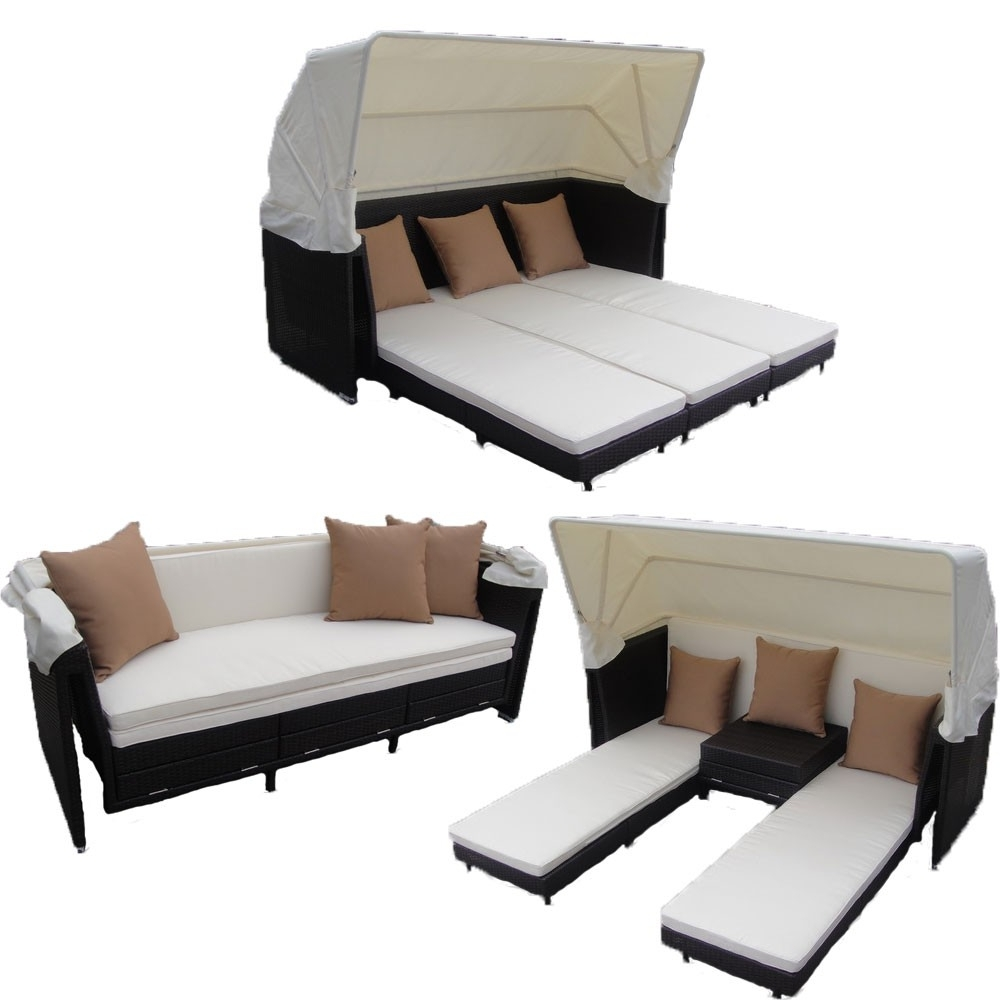 Most Up To Date Curaçao Canopy Set In Black Wicker, Ivory Fabric With Outdoor Sofas With Canopy (View 8 of 15)