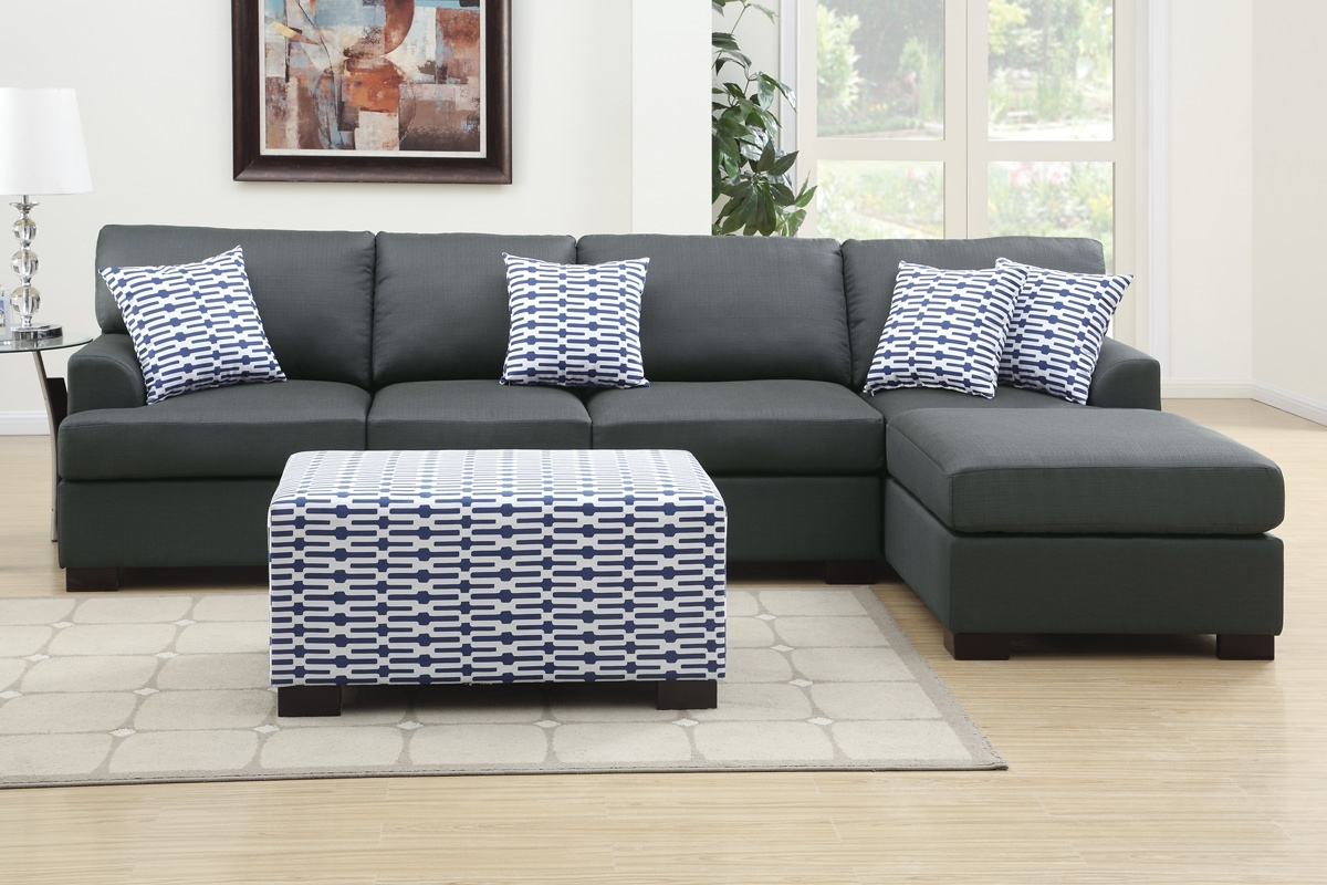 Most Up To Date F7992 2 Pieces Slate Black Sofa Chaise Intended For Sectional Sofas With Chaise And Ottoman (View 11 of 15)