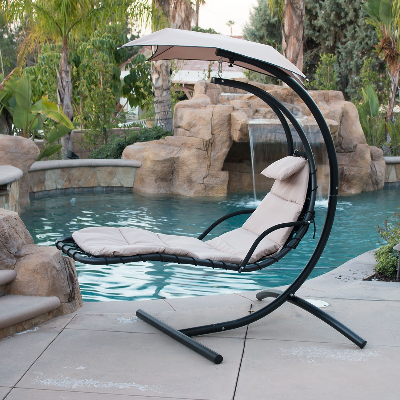 Most Up To Date Hanging Chaise Lounger Chair Arc Stand Air Porch Swing Hammock With Chaise Lounge Swing Chairs (View 12 of 15)